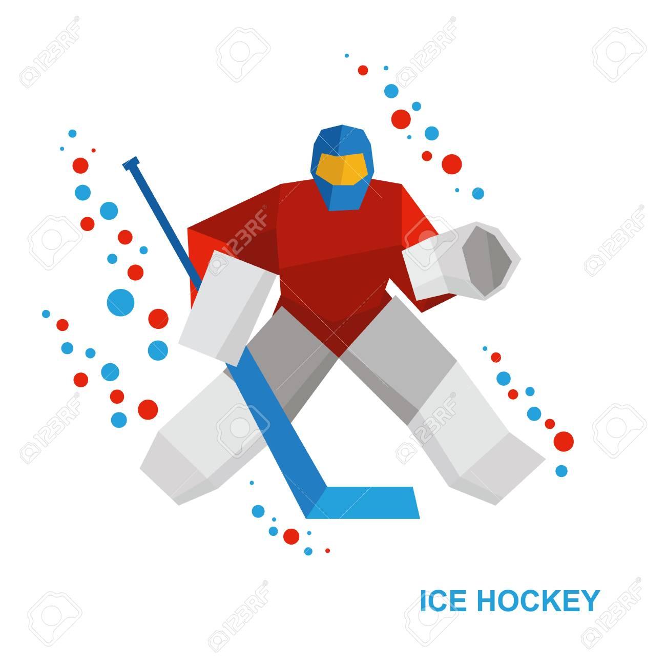 Winter Sports Ice Hockey Cartoon Goalkeeper With Hockey Stick