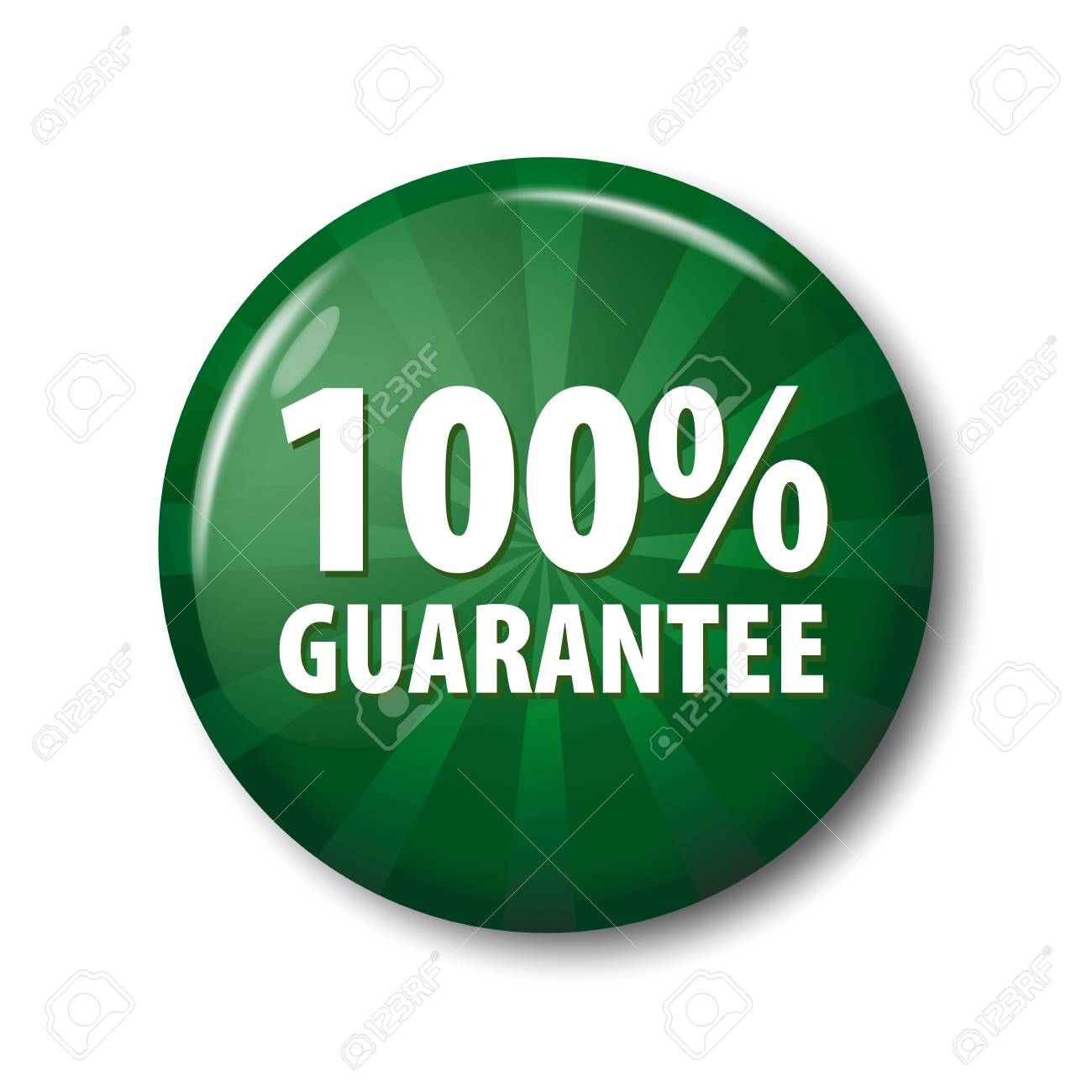 bright green button with words 100 guarantee warranty circle