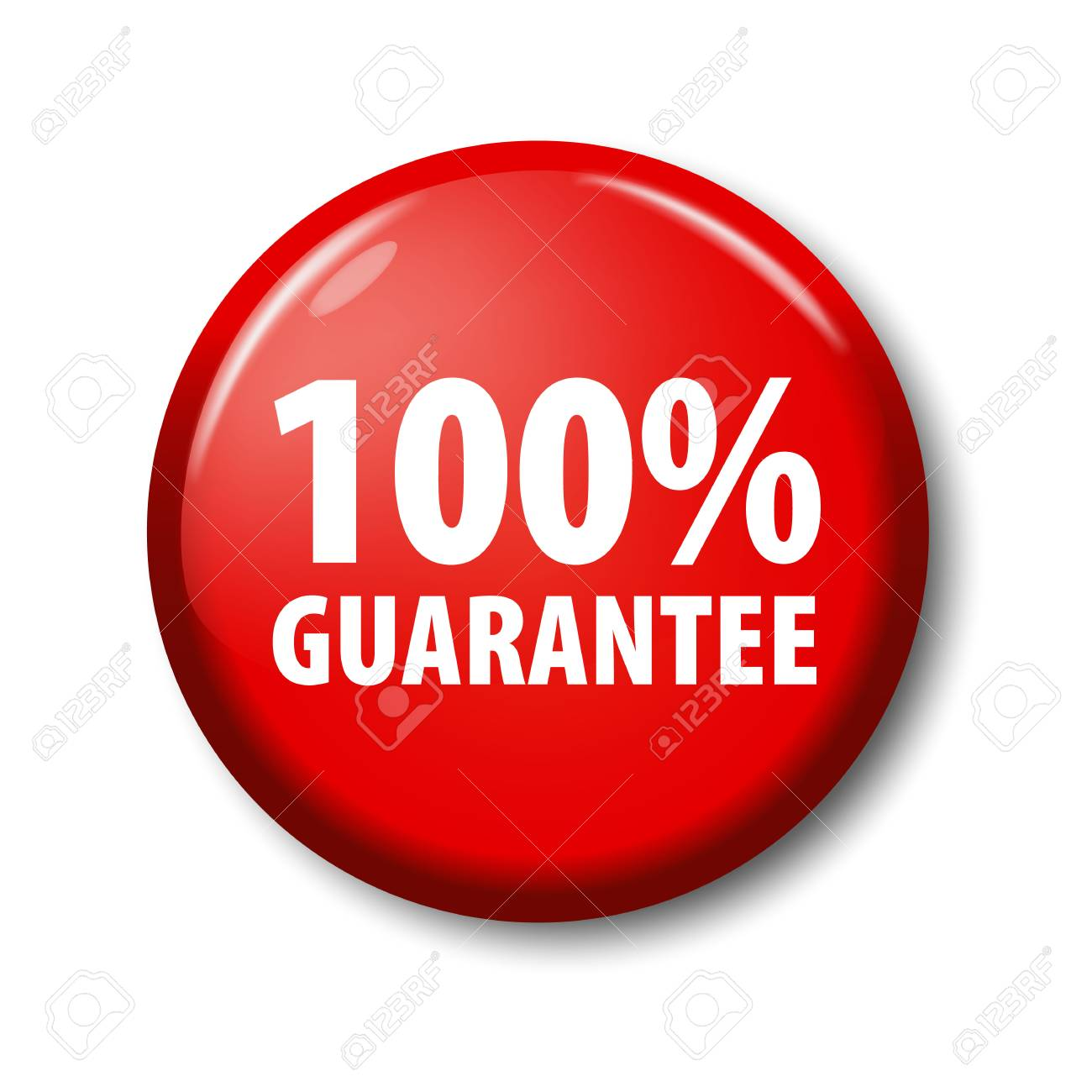 bright red button with words 100 guarantee warranty circle