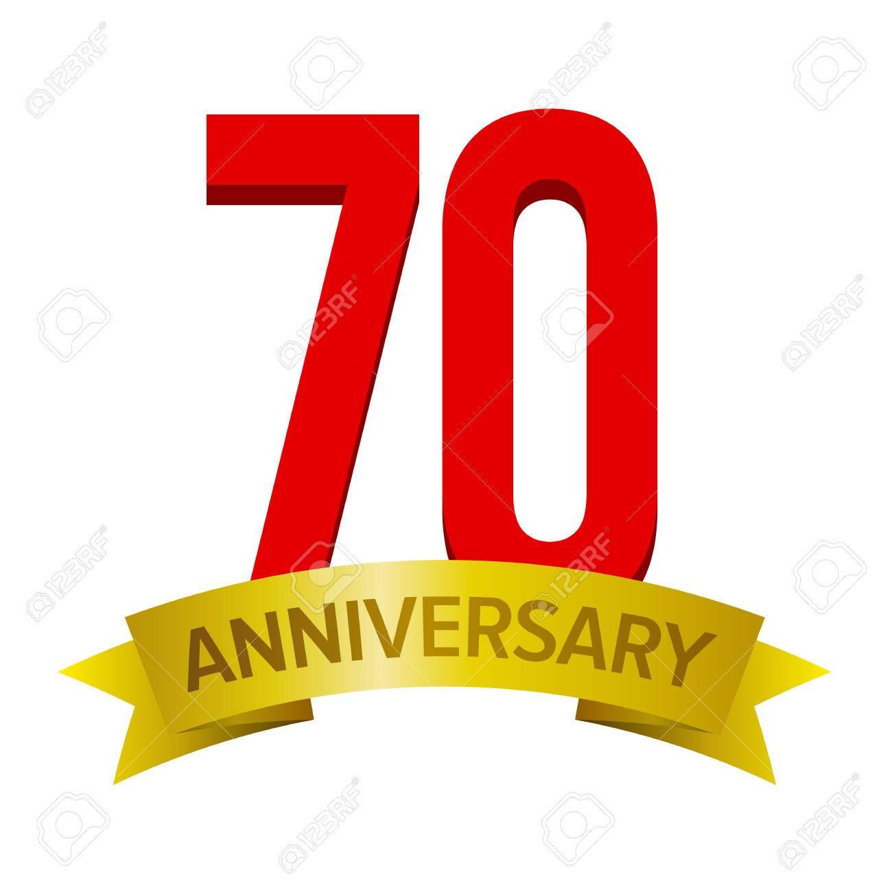 Grand Numero Rouge 70 Avec Ruban D Or Et Texte Anniversaire Ci