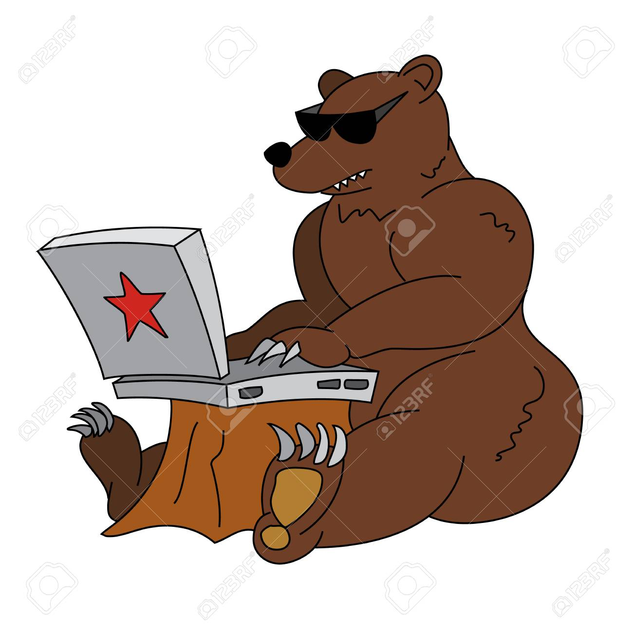 Ejemplo Chistoso Del Pirata Informático Ruso Oso Marrón Enojado