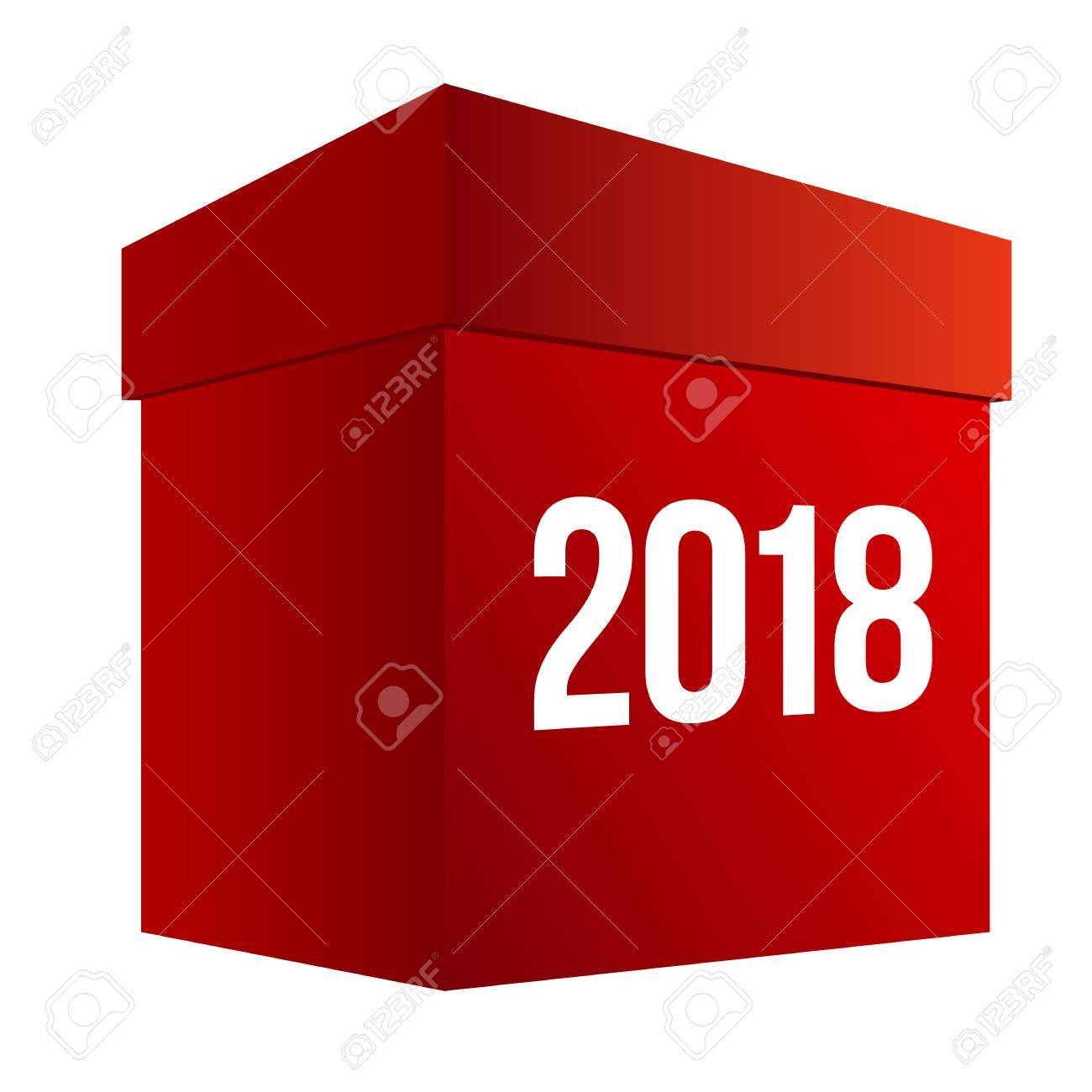 new year shopping big red present box with numbers 2018 isolated on white background
