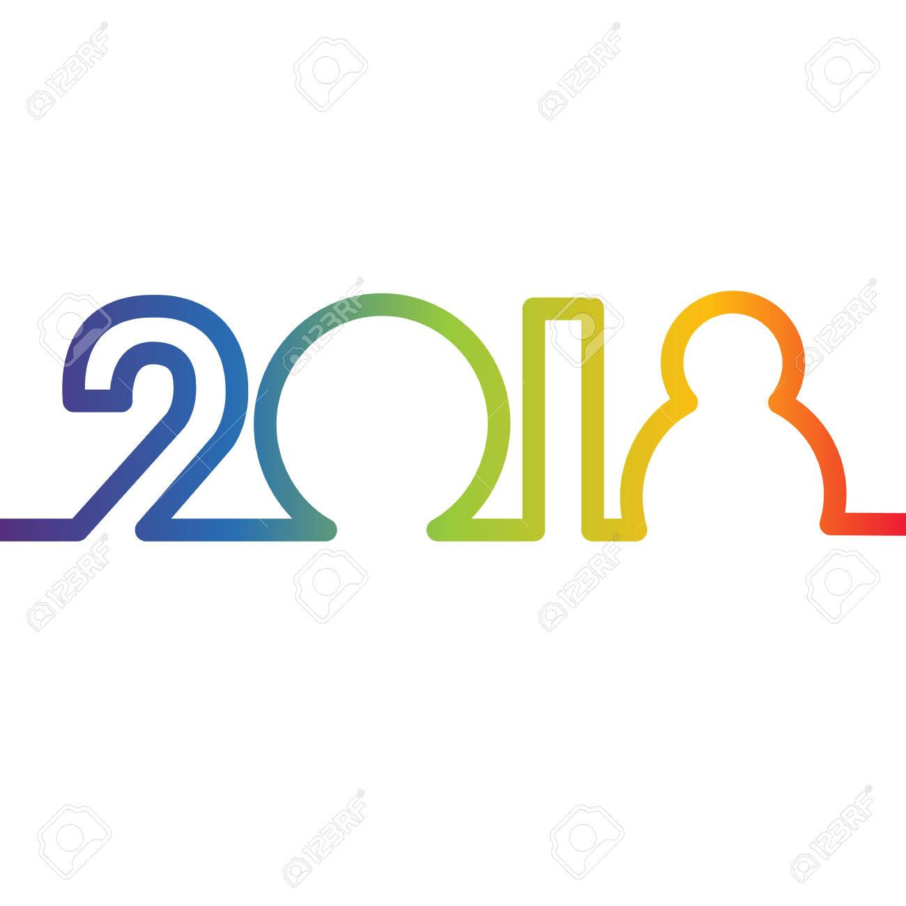 happy new year 2018 concept rainbow colored digits created by continuous line sign