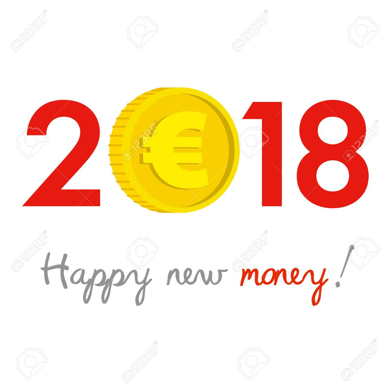New Year 2018 business concept  Euro gold coin instead of zero