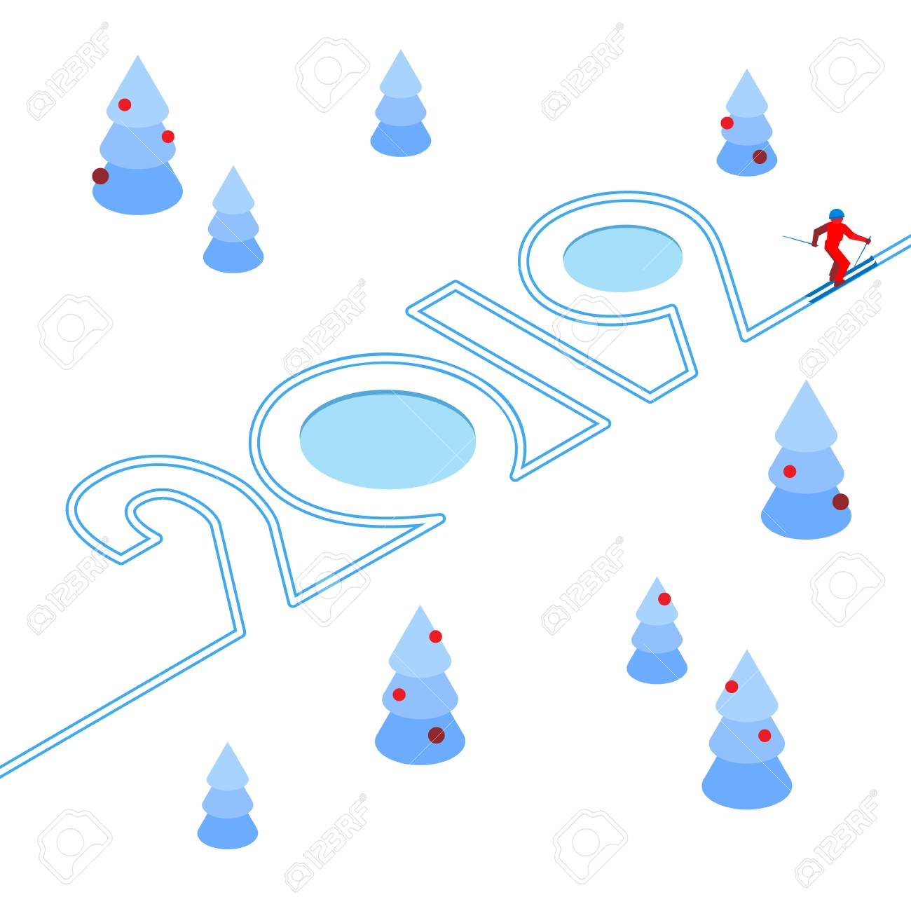 New Year 2019 Concept Skier Has Left A Trace In The Form Of