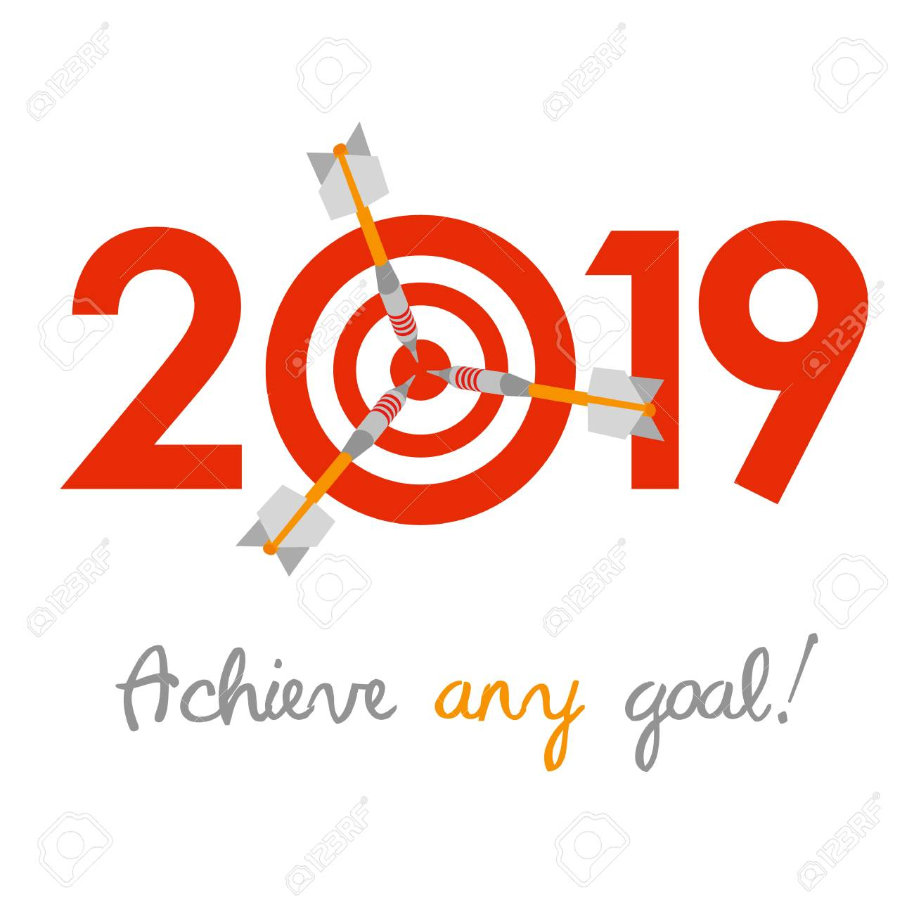 New Year 2019 Business Concept Target With Three Darts Instead