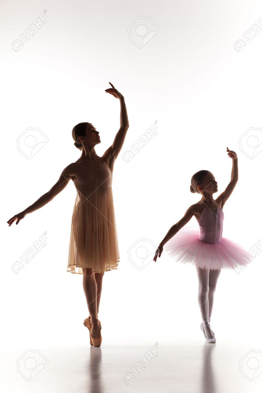 The Silhouettes Of Little Ballerina And Personal Classic Ballet ...