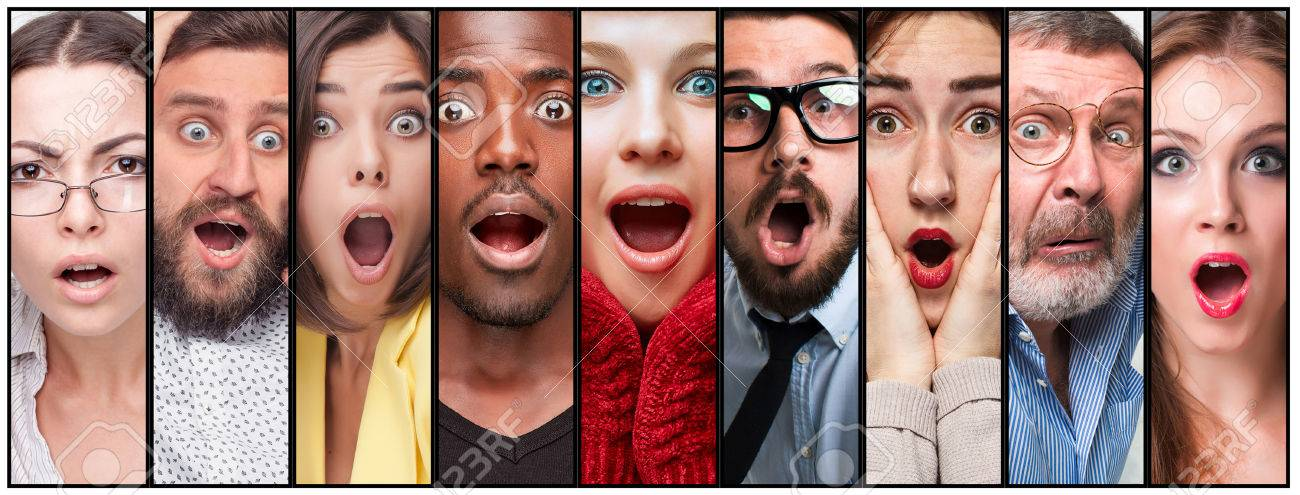 The collage of surprised young men and women - 54260817