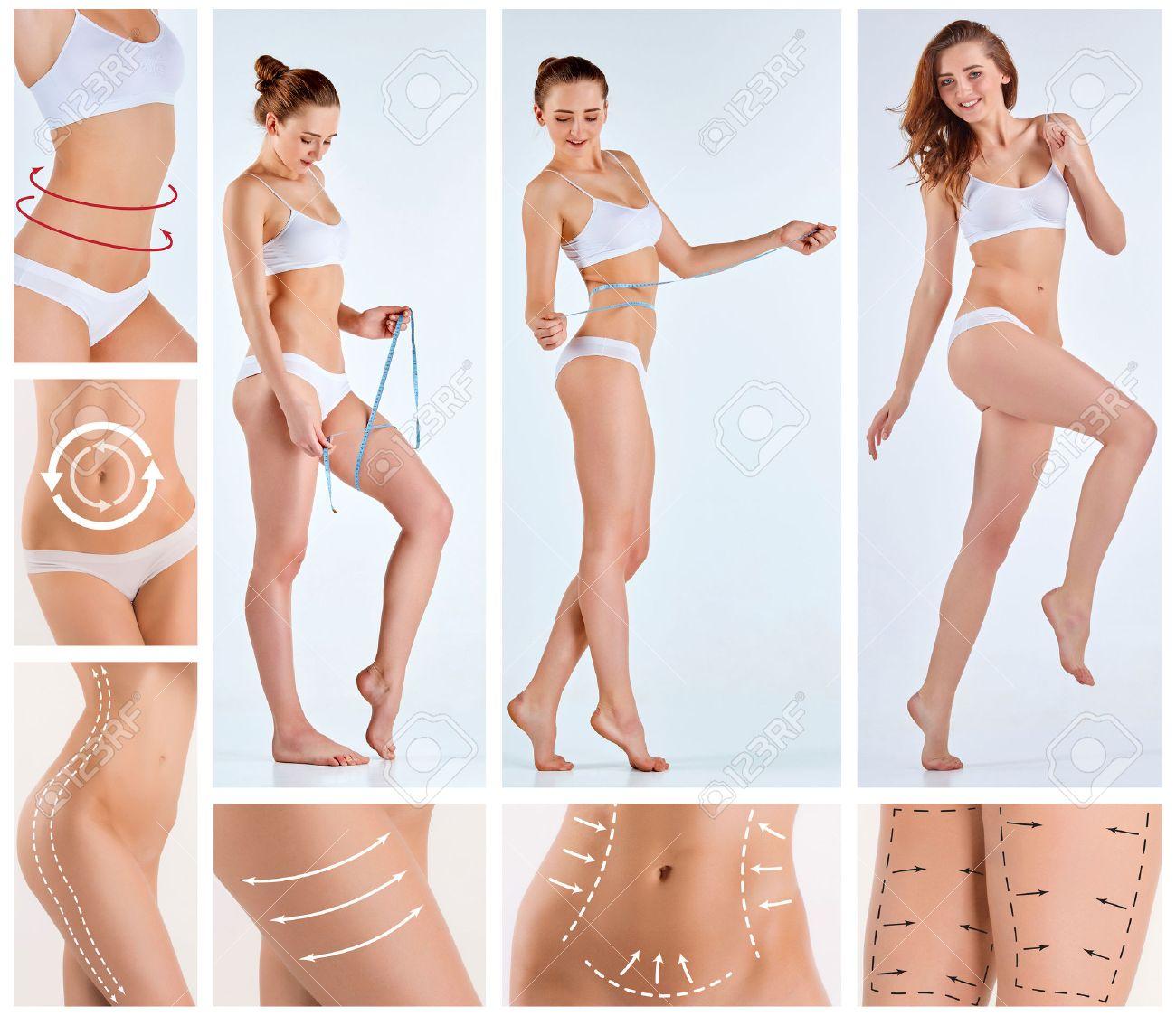 Collage De Cuerpo Femenino Con Las Flechas De Giro. Perder Grasa, La ...