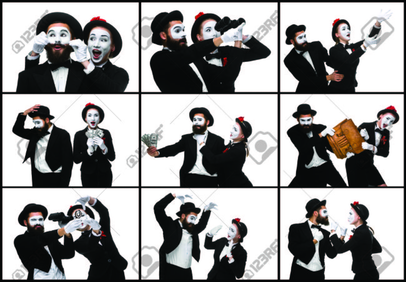 67225216 the collage from images of two memes as business man and woman fighting on white background the conc the collage from images of two memes as business man and woman