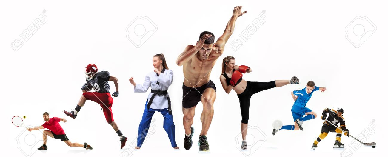 Sport collage about boxing, soccer, american football, ice hockey, jogging, taekwondo, tennis - 95513864