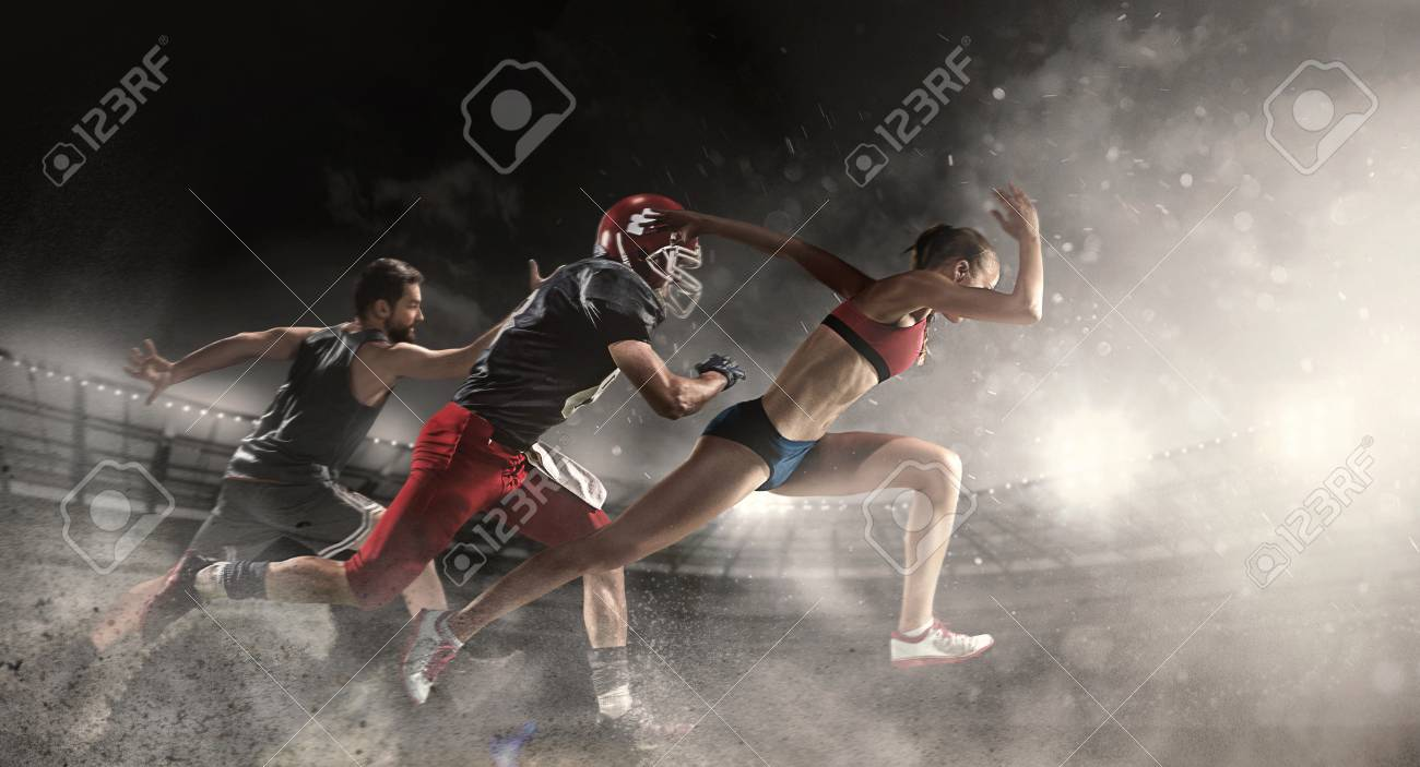 Multi sports collage about basketball, American football players and fit running woman - 95715400