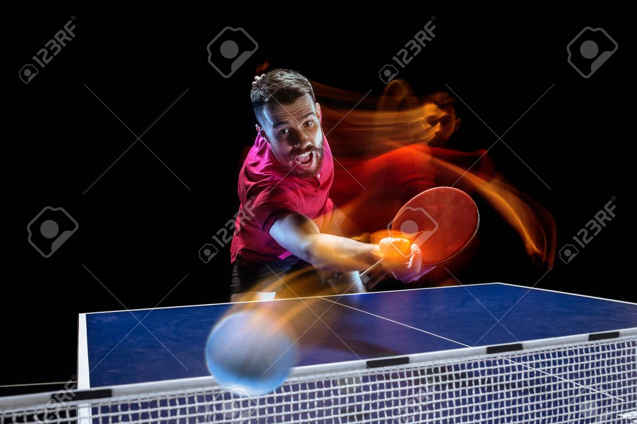The table tennis player serving - 101482111