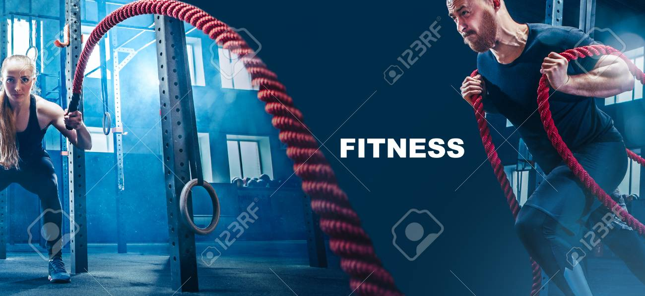 Collage about man and woman with battle ropes exercise in the fitness gym. CrossFit concept. gym, sport, rope, training, athlete, workout, exercises concept - 110927410