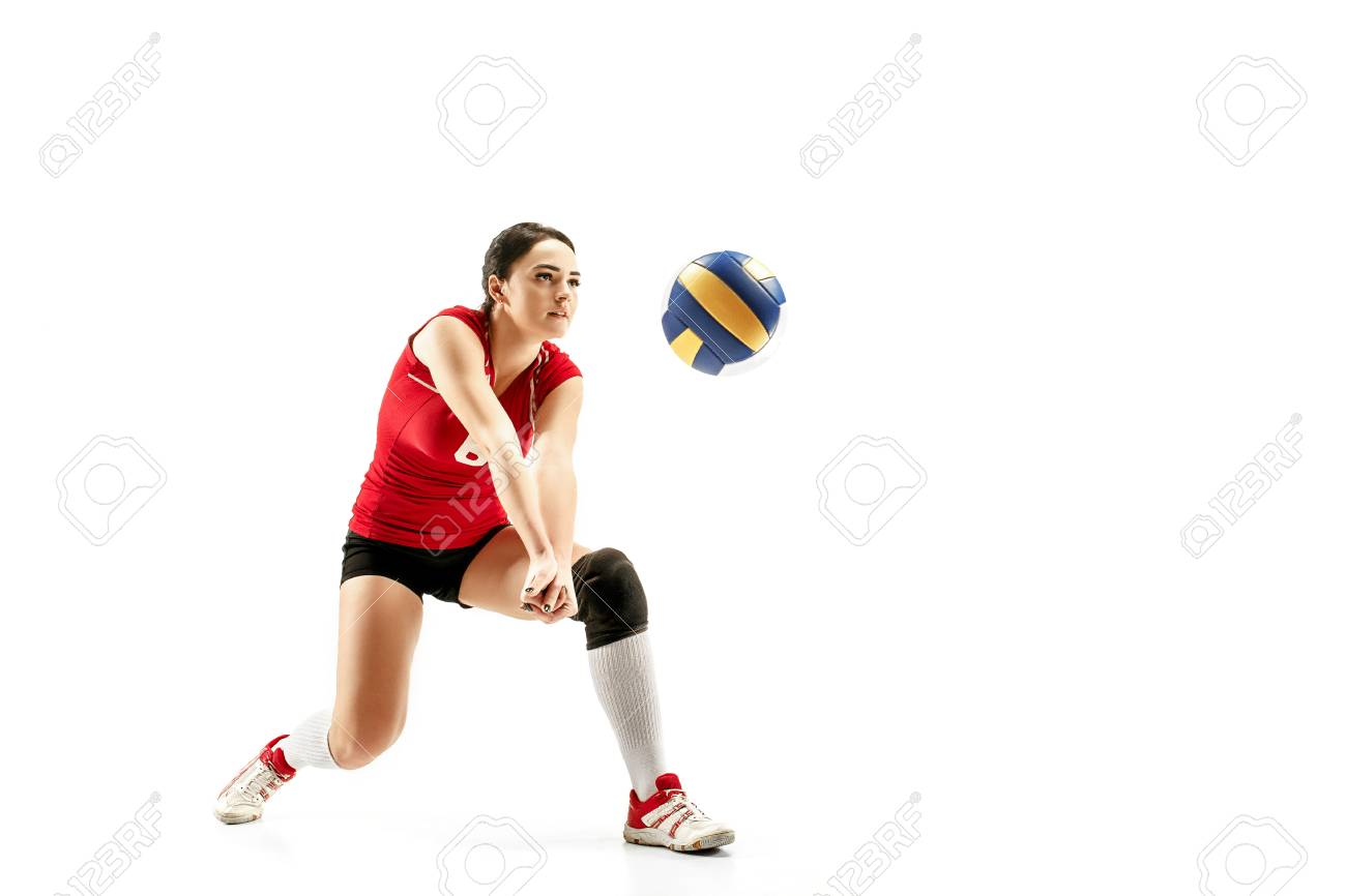 Female professional volleyball player isolated on white with ball. - 113940412