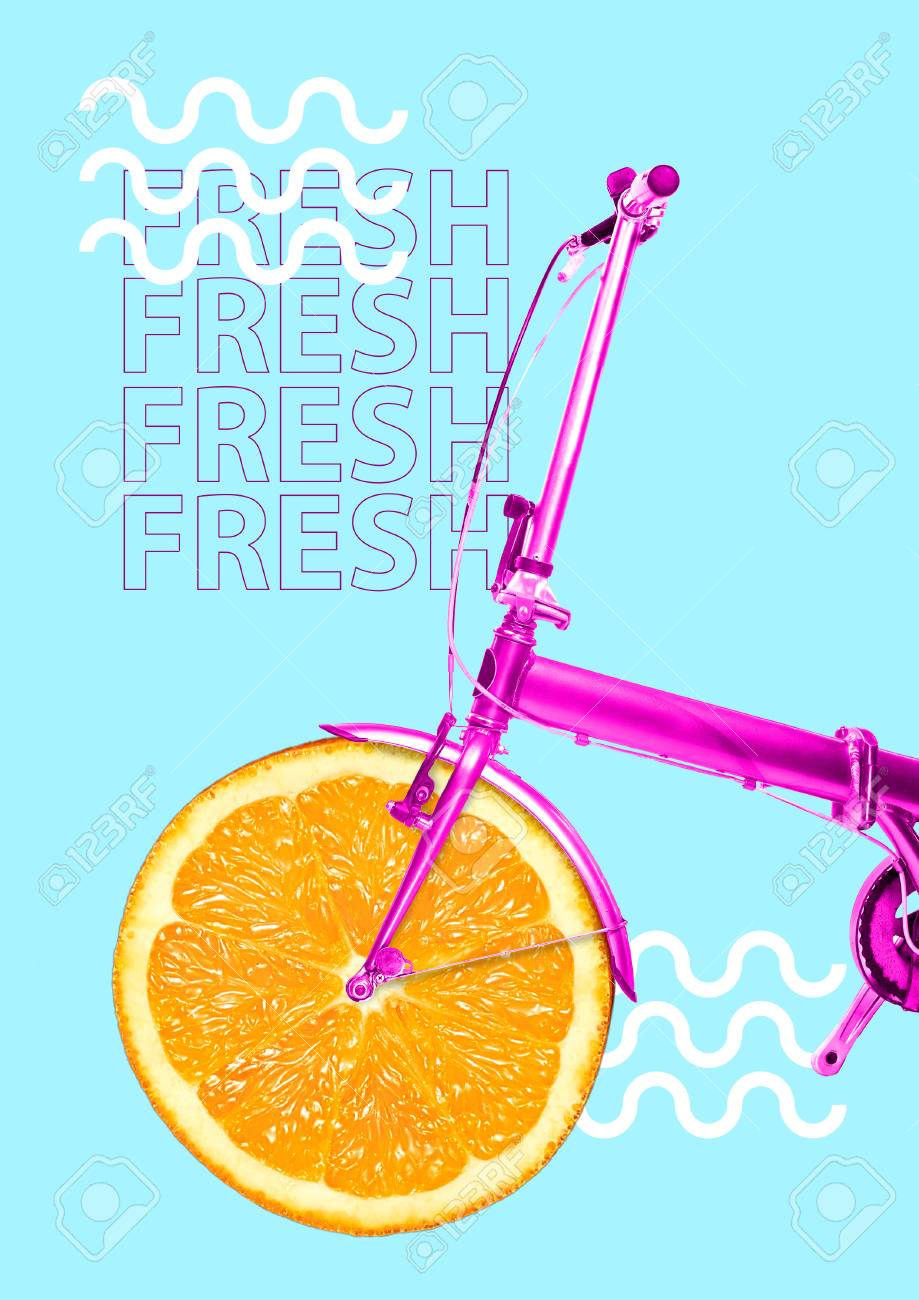 Vitamin delivery. Get your dose of juicy colors and freshness. Bike with orange as a wheel and pink base against blue background. Health food concept. Modern design. Contemporary art collage. - 120056440