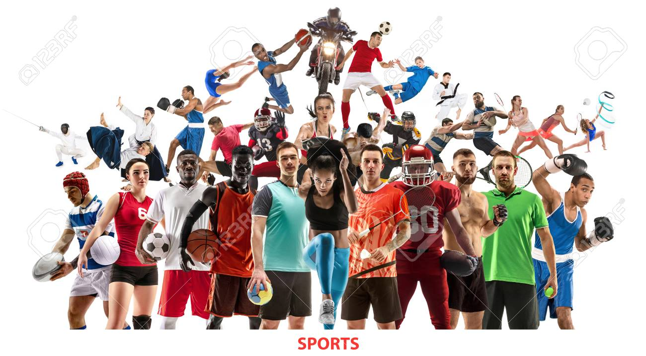 Sport collage. Tennis, running, badminton, soccer and american football, basketball, handball, volleyball, boxing, MMA fighter and rugby players. Fit women and men standing isolated on white background - 122708989