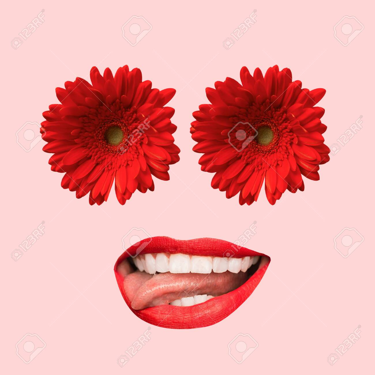 Female face with big red mouth and eyes as a flowers on coral..