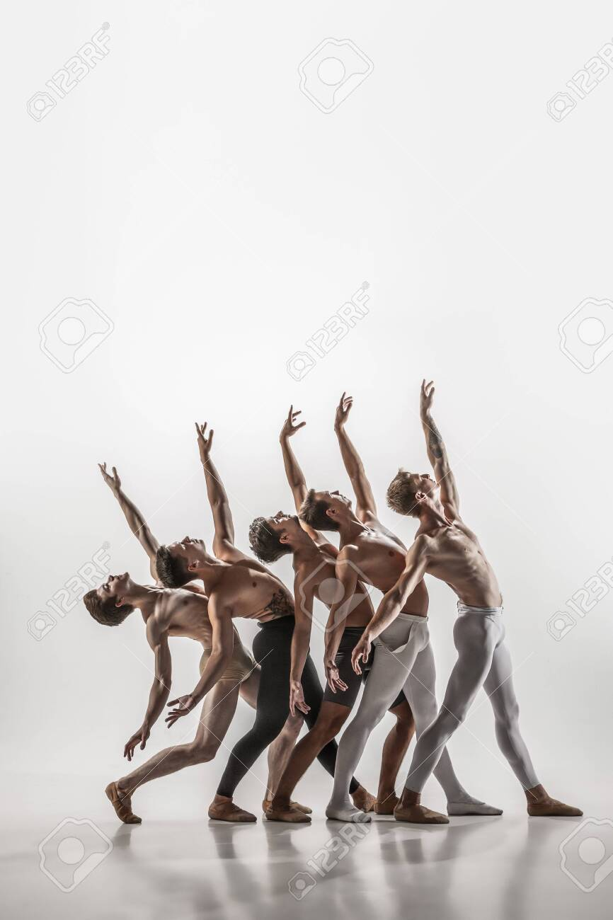 The Group Of Modern Ballet Dancers. Contemporary Art Ballet... Stock Photo,  Picture And Royalty Free Image. Image 132299321.