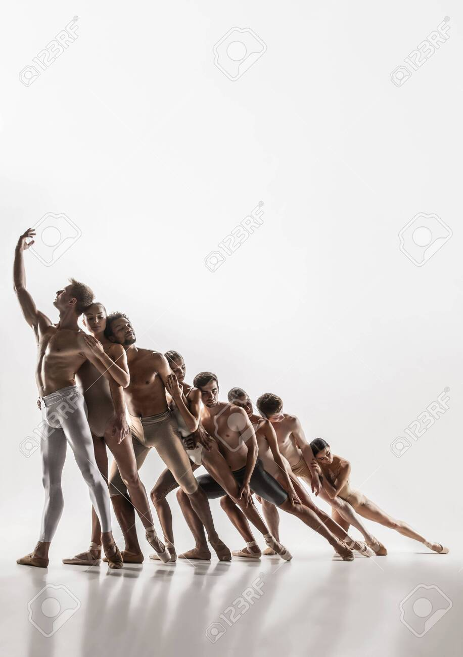 The Group Of Modern Ballet Dancers. Contemporary Art Ballet... Stock Photo,  Picture And Royalty Free Image. Image 132442288.