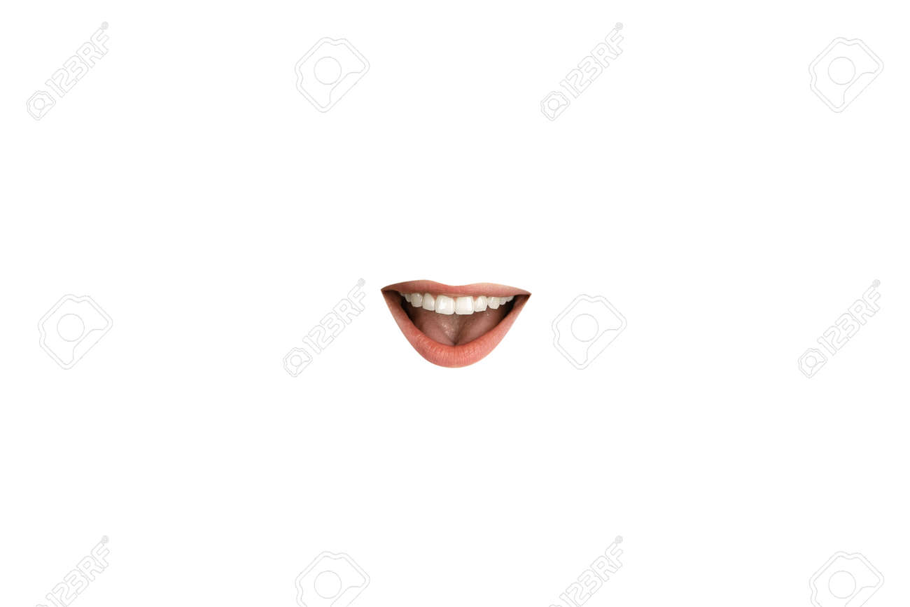 Close-up view of female mouth wearing red lipstick isolated on white studio background. Emotions showing, copyspace ready for advertising or design. Expression, beauty, sensuality, fashion concept. - 154133864