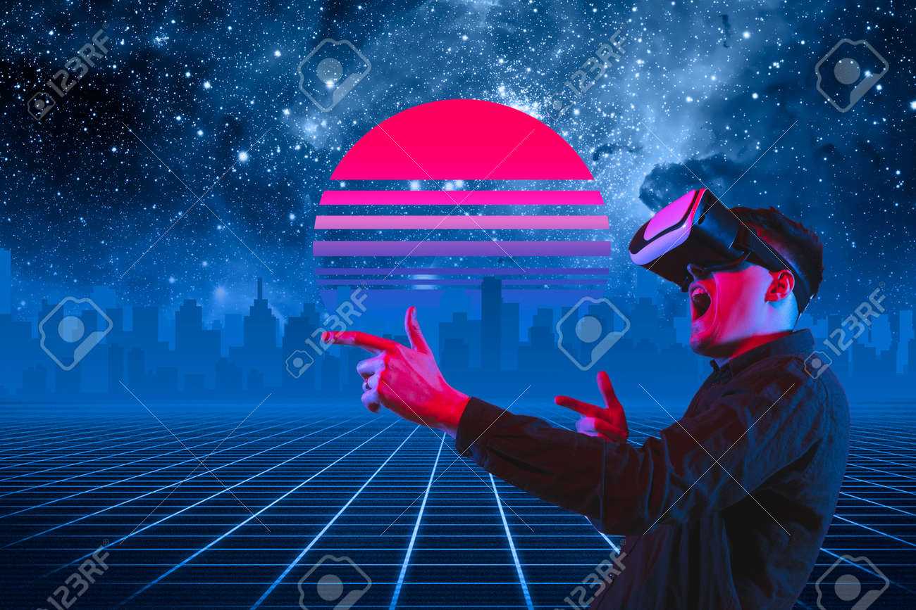 VR-playing. Beautiful background, synth wave and retro wave, vaporwave futuristic aesthetics. Ultraviolet, man with device in glowing neon. Stylish flyer for ad, offer, bright colors and city view. - 154625254