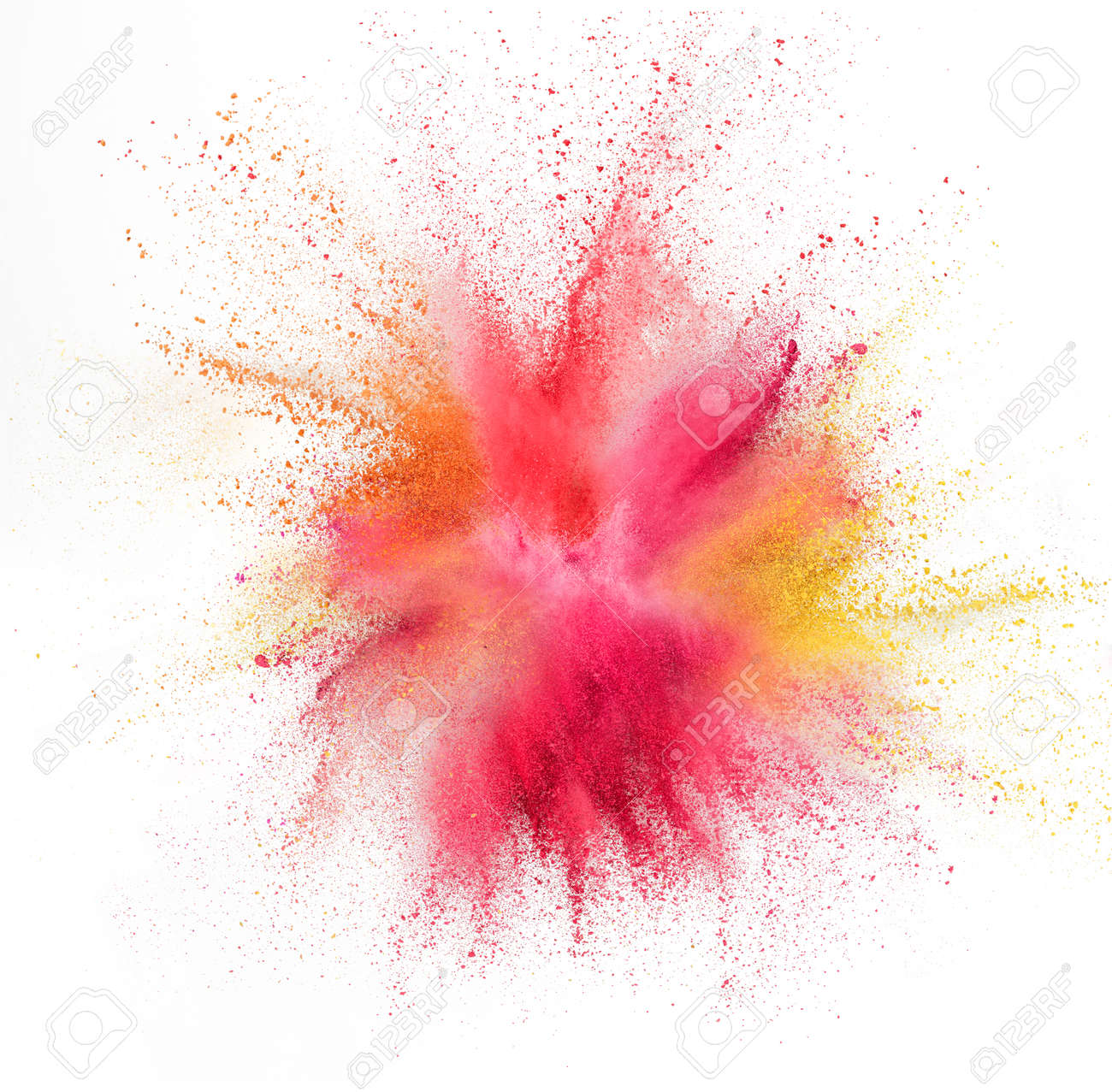 Yellow pink and red bomb. Explosion of colored, fluid and neoned powder on white studio background with copyspace. Trendy, modern colors. Festival, design, beauty concept. Splashing of colors. - 167532112