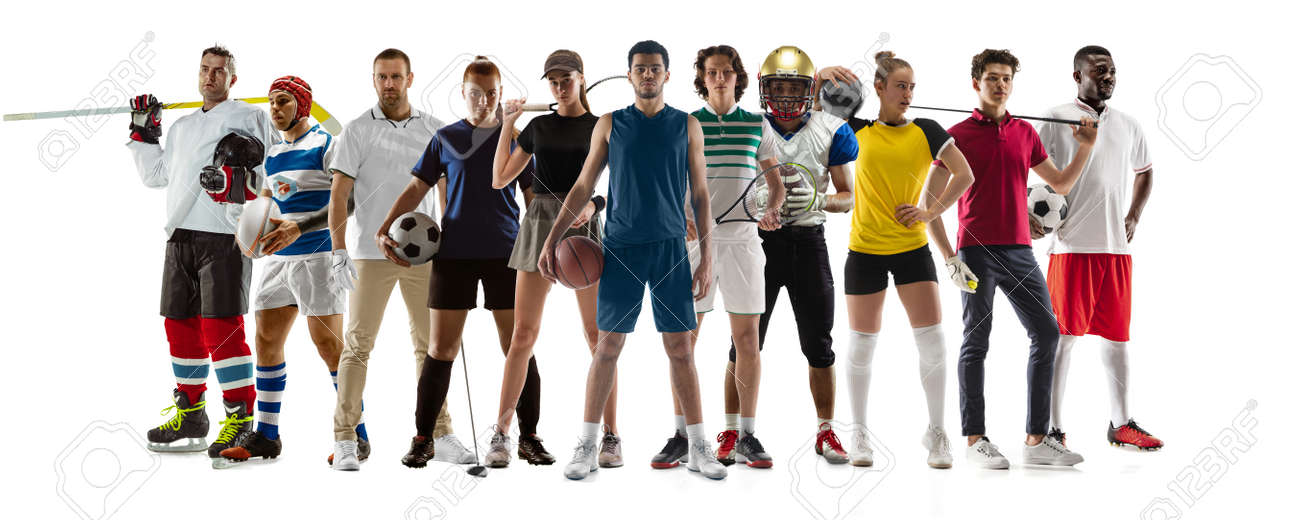 Collage of 10 different professional sportsmen, fit people in action and motion isolated on white background. Flyer. - 168373772