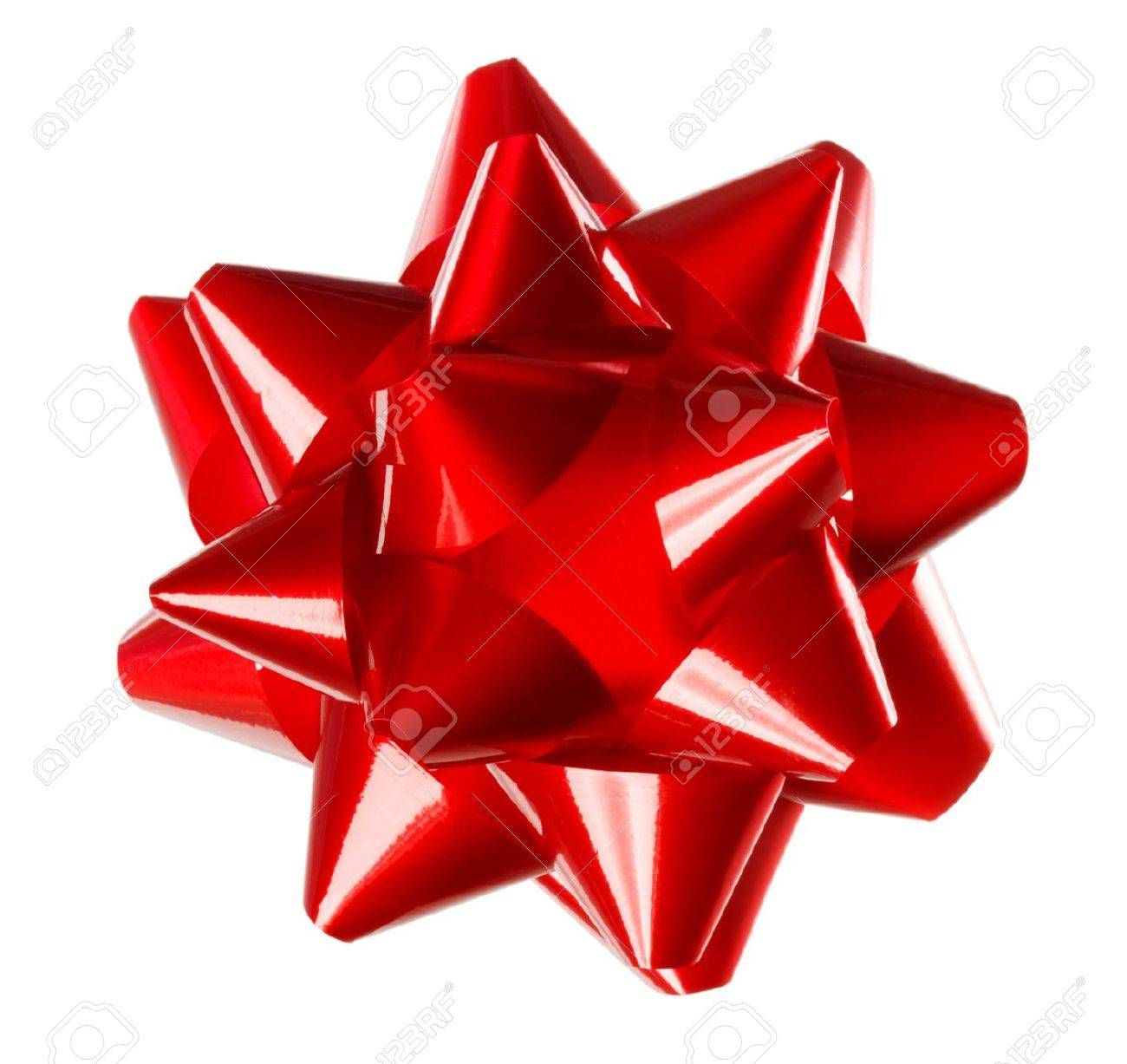 Red gift bows border with clipping path for easy background removing - Red Bow Red Holiday Gift Bow On White Background Stock Photo