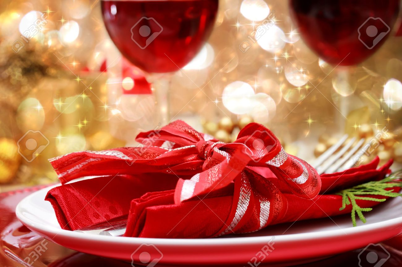 Candle Light Dinner Table Setting Part - 43: Decorated Christmas Dinner Table Setting Stock Photo - 16485266
