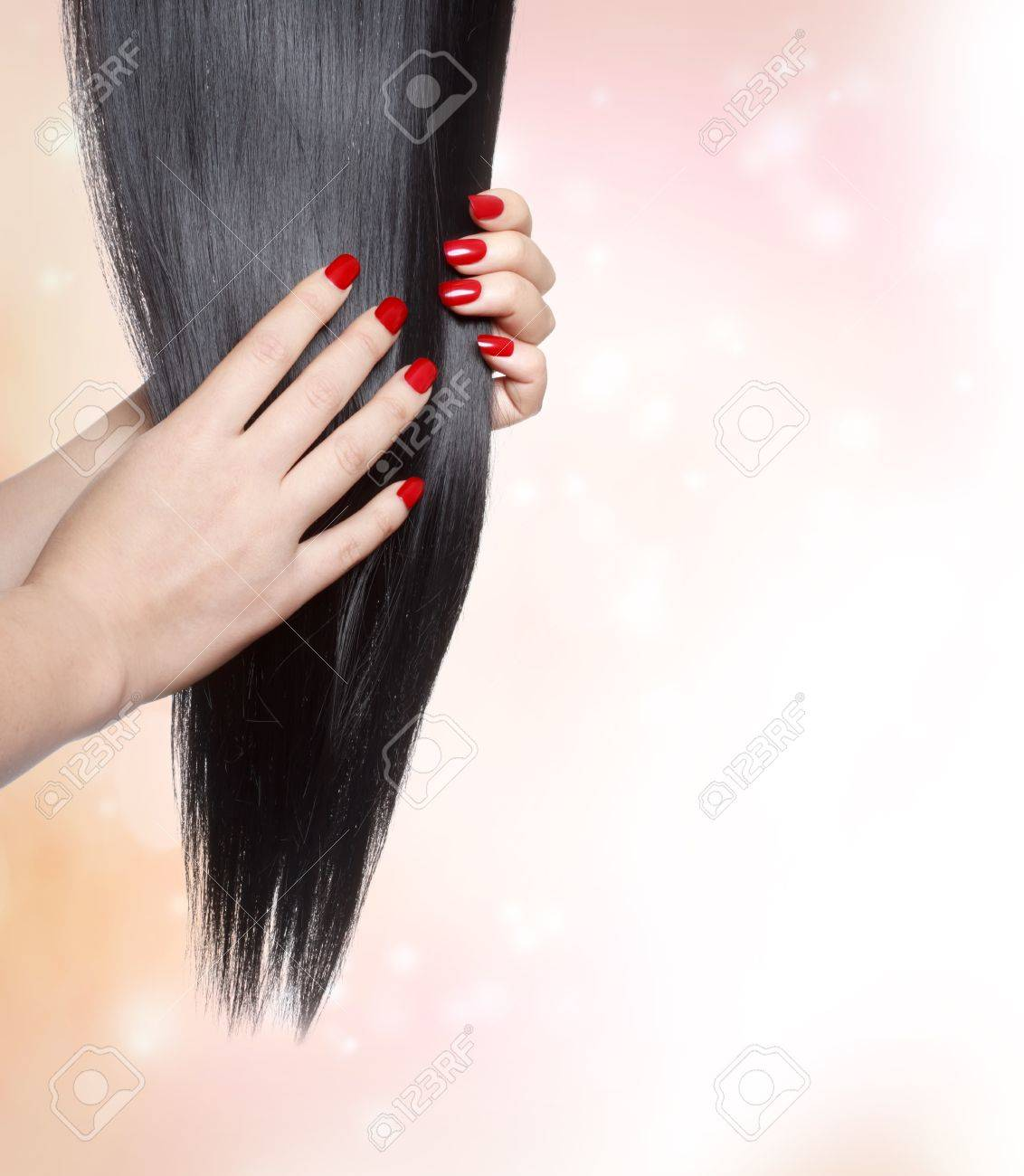 Long Straight Black Hair With Red Nails Stock Photo, Picture And ...