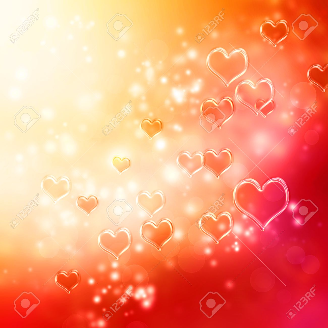 Clear shiny hearts background (red and orange) Stock Photo - 17305637