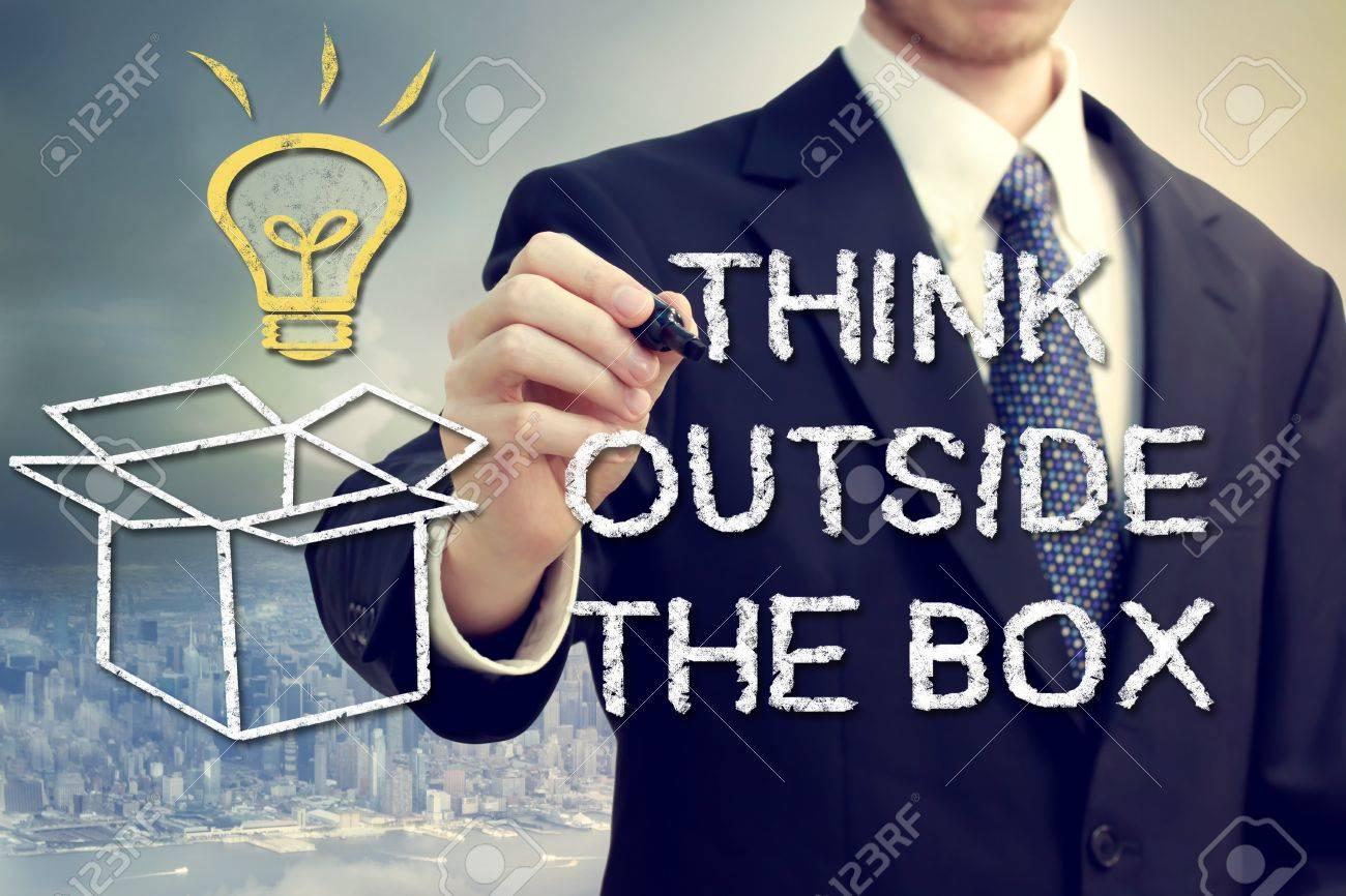Businessman drawing thinking outside the box theme Stock Photo - 18960941