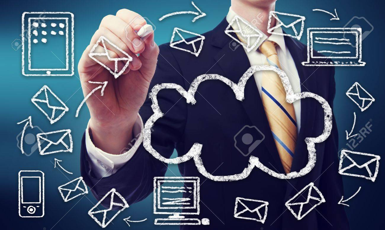 Businessman with cloud computing and connectivity concept Stock Photo - 20957998