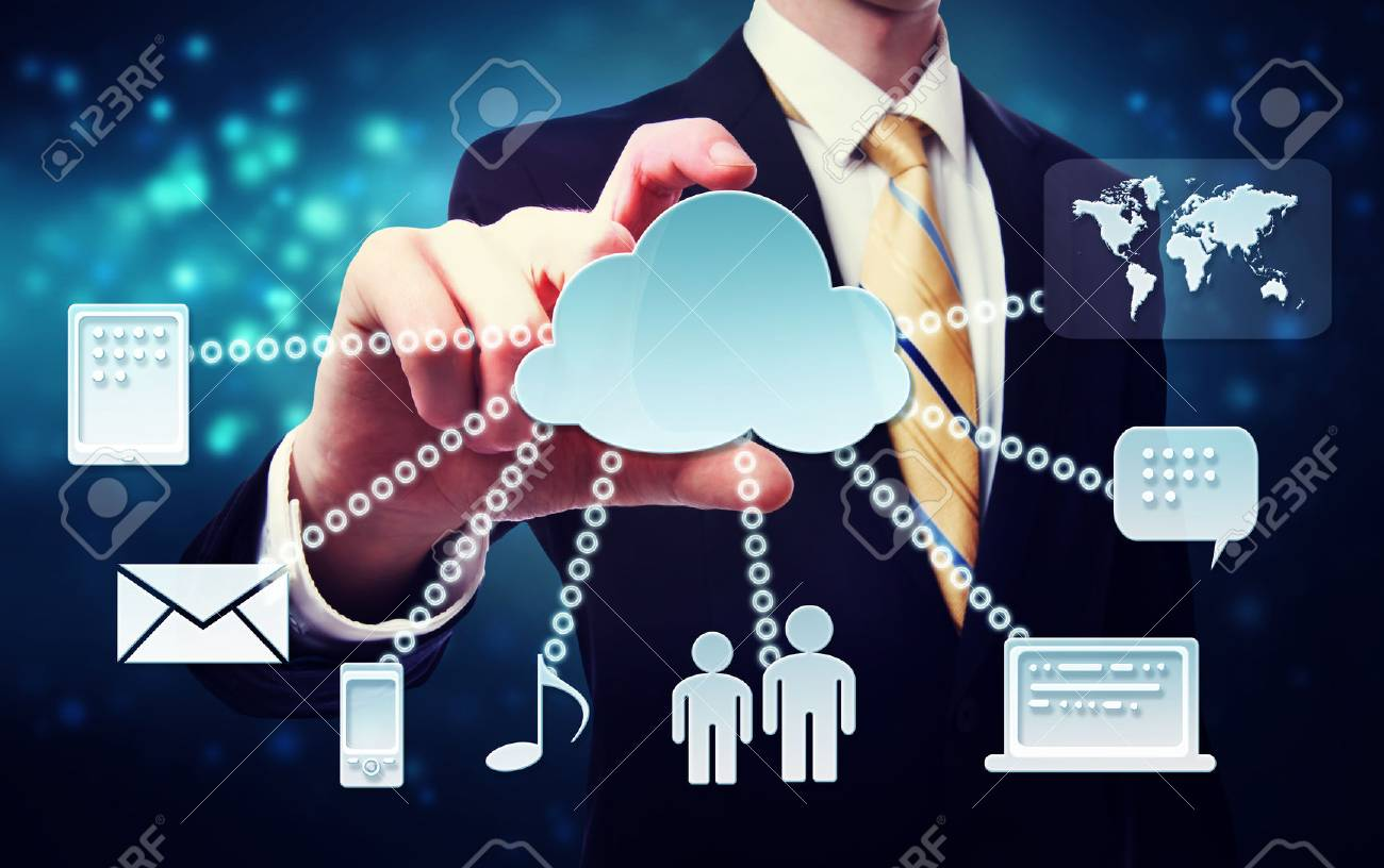 Cloud computing connection concept with business man on a blue technology Stock Photo - 22480295