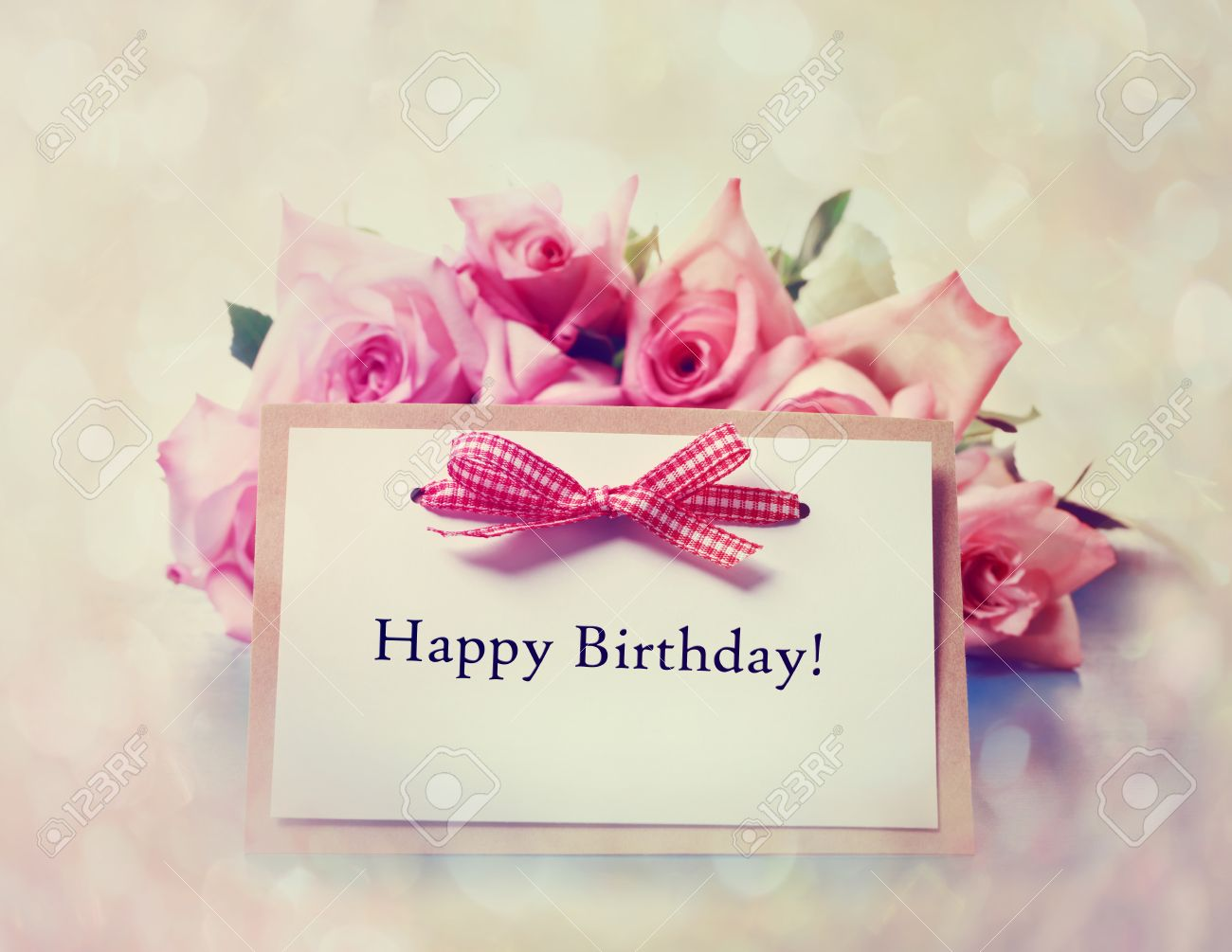 Happy Birthday Message Card With Retro Pink Roses Photo – Happy Birthday Card Message