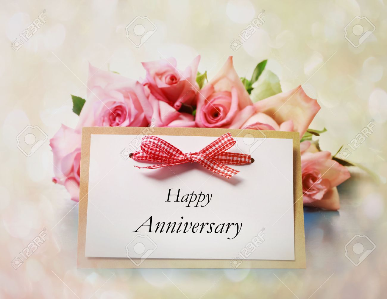Happy Anniversary Greeting Card With Roses Stock Photo Picture And