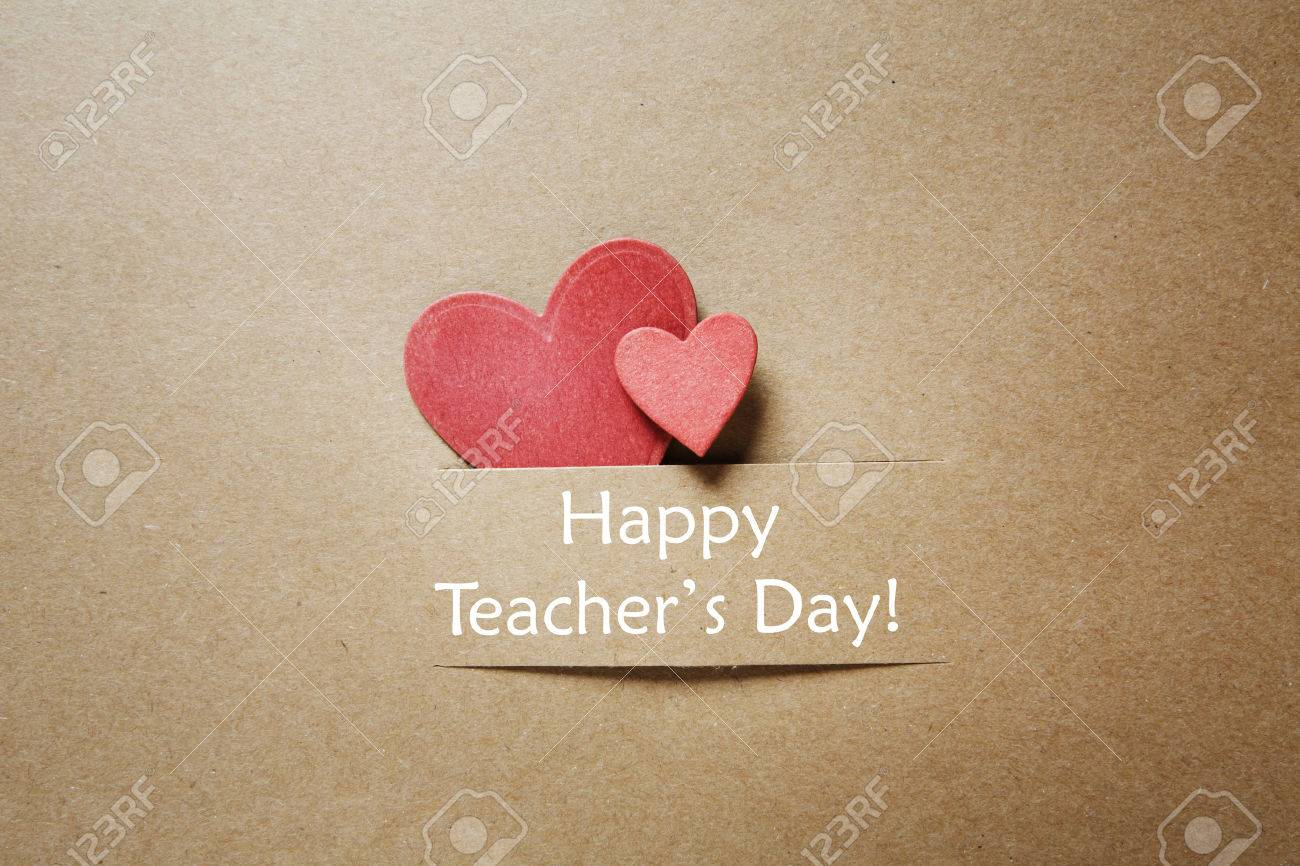 Hand crafted teachers day greeting card with little red heats stock hand crafted teachers day greeting card with little red heats stock photo 31371647 m4hsunfo