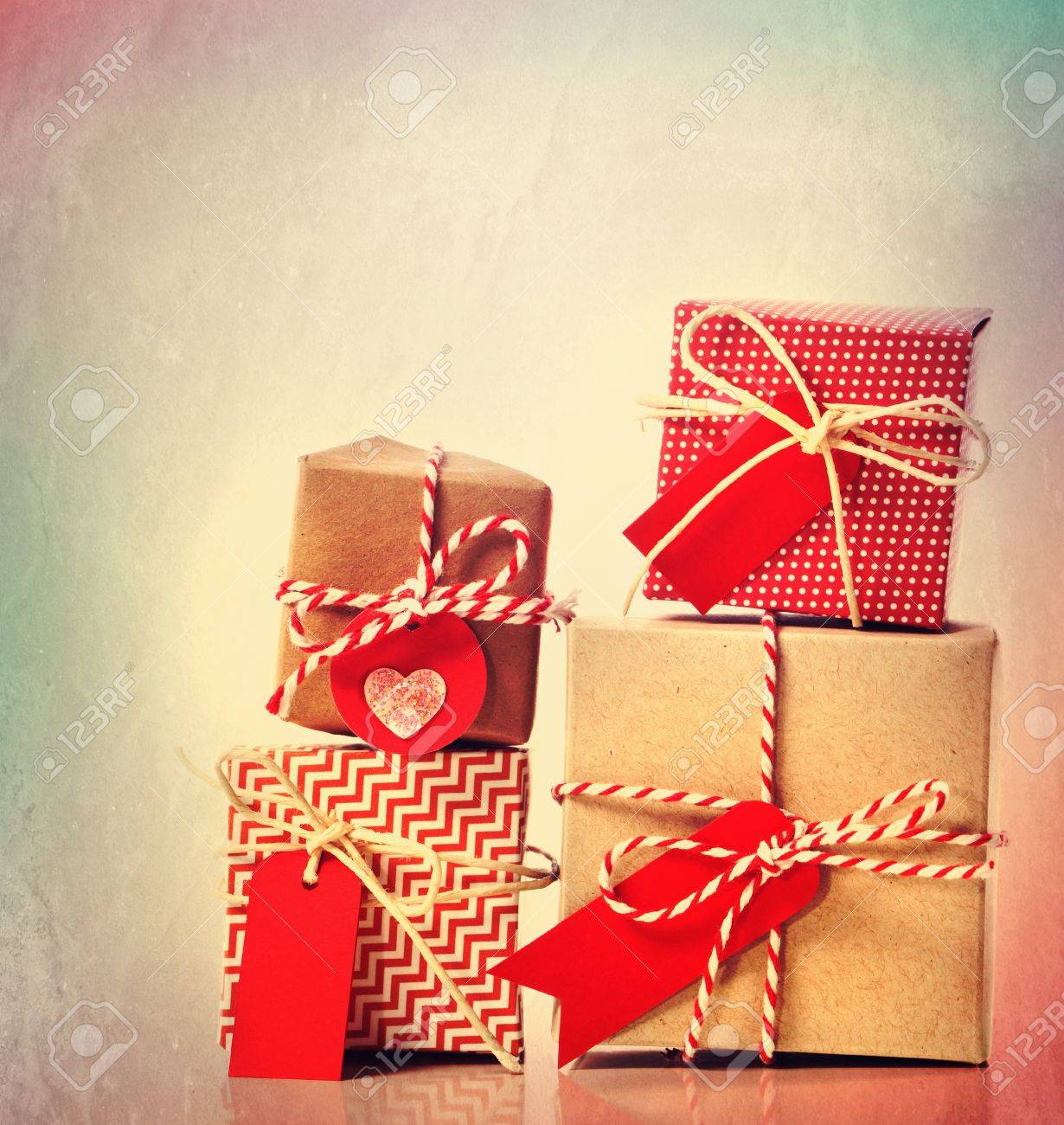Small Red Handmade Gift Boxes On Pastel Background