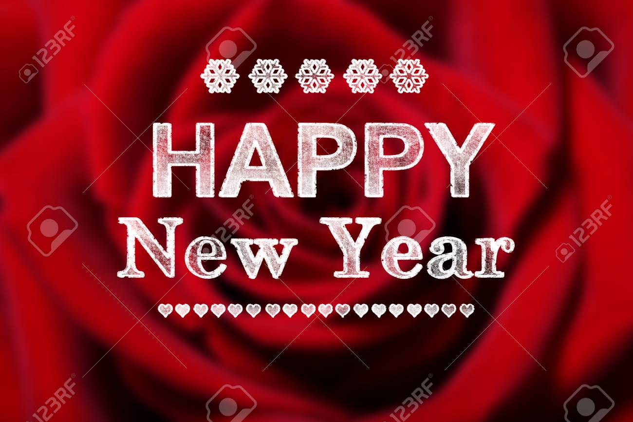 happy new year message with beautiful red rose stock photo 34753339