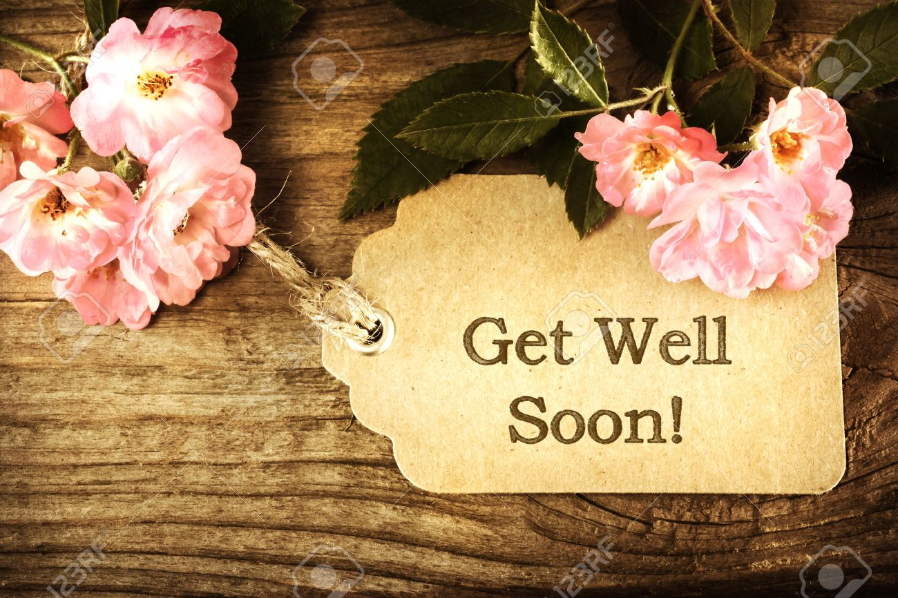 Get Well Soon Message Card With Small Roses On Wood Background Stock Photo    38197774