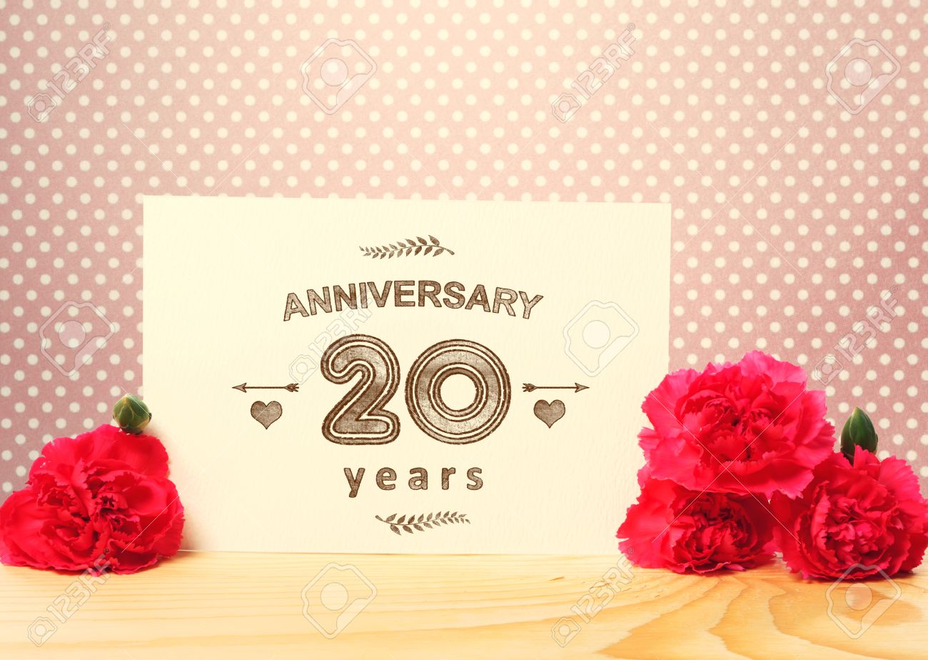 20 Years Anniversary Card With Pink Carnation Flowers Stock Photo ...
