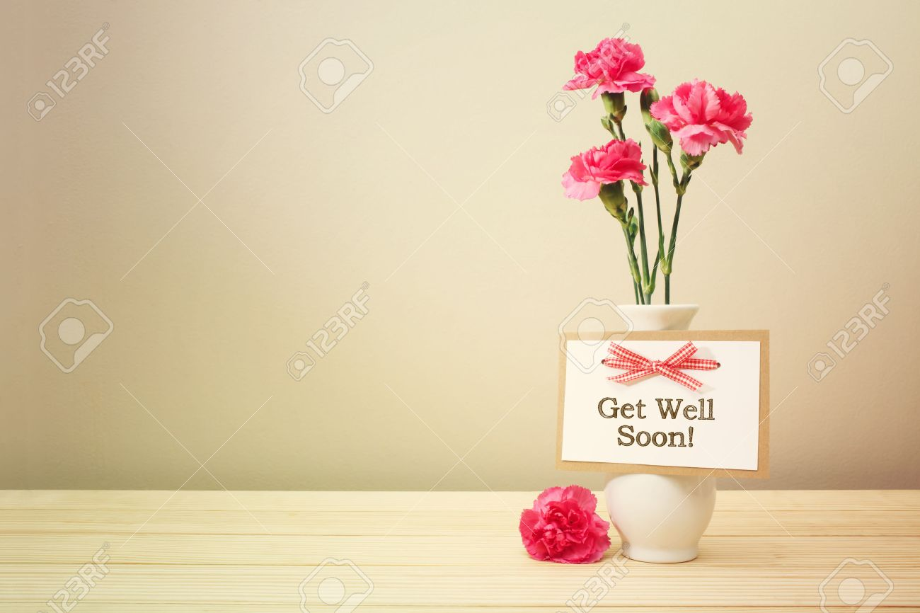 Get Well Soon Message With Pink Carnations In A White Vase Stock Photo    43085943