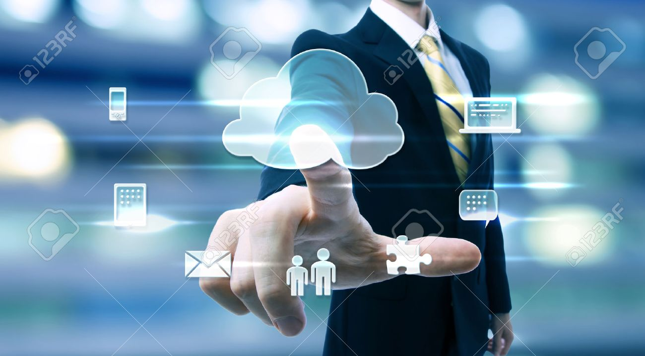 Business man with cloud computing concept on blurred city background - 43317167