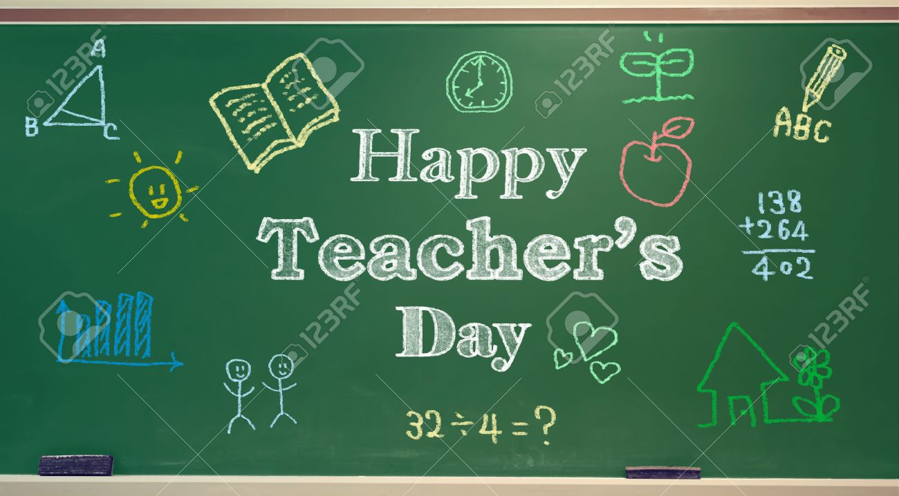 Happy teachers day message with colorful hand drawings