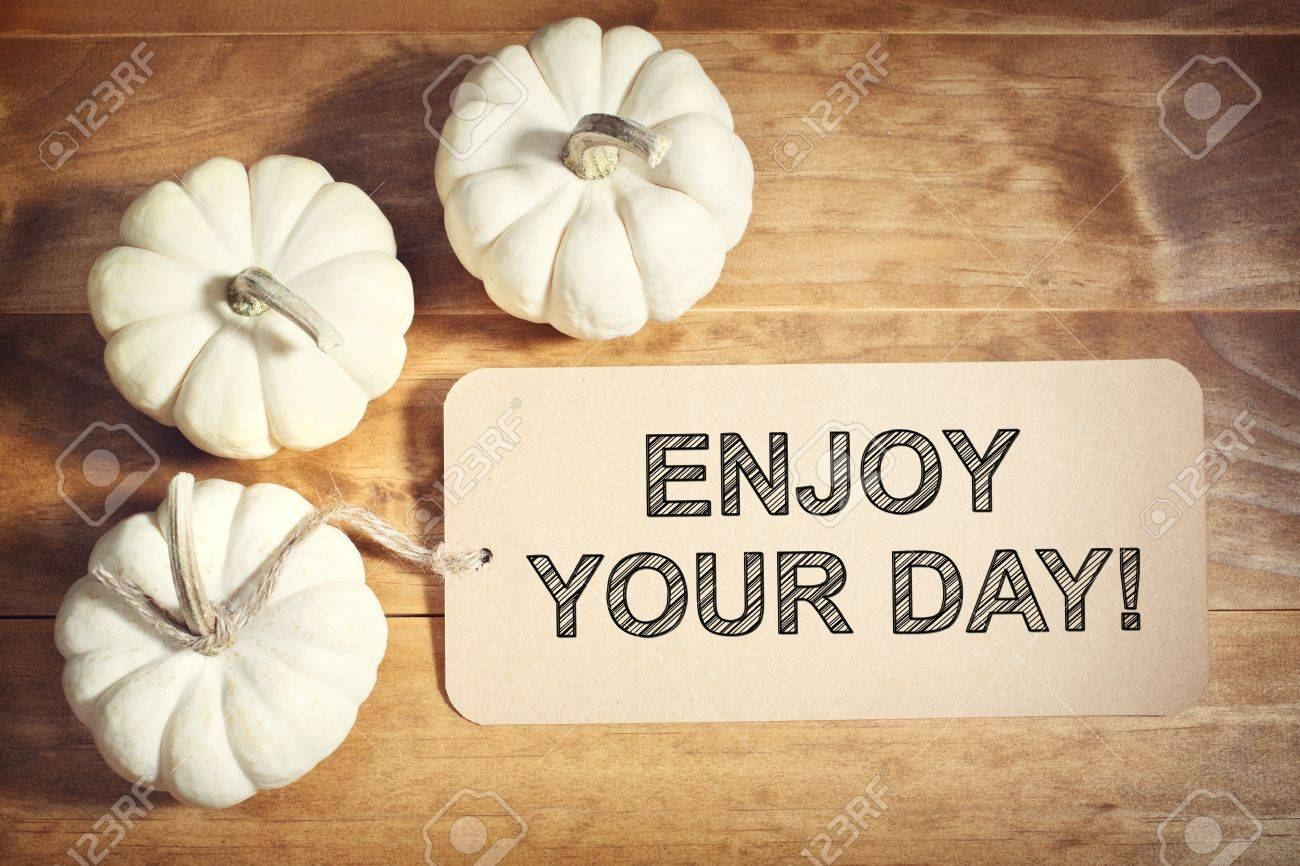 Enjoy Your Day Message With A Orange Small Pumpkin Stock Photo   47808342