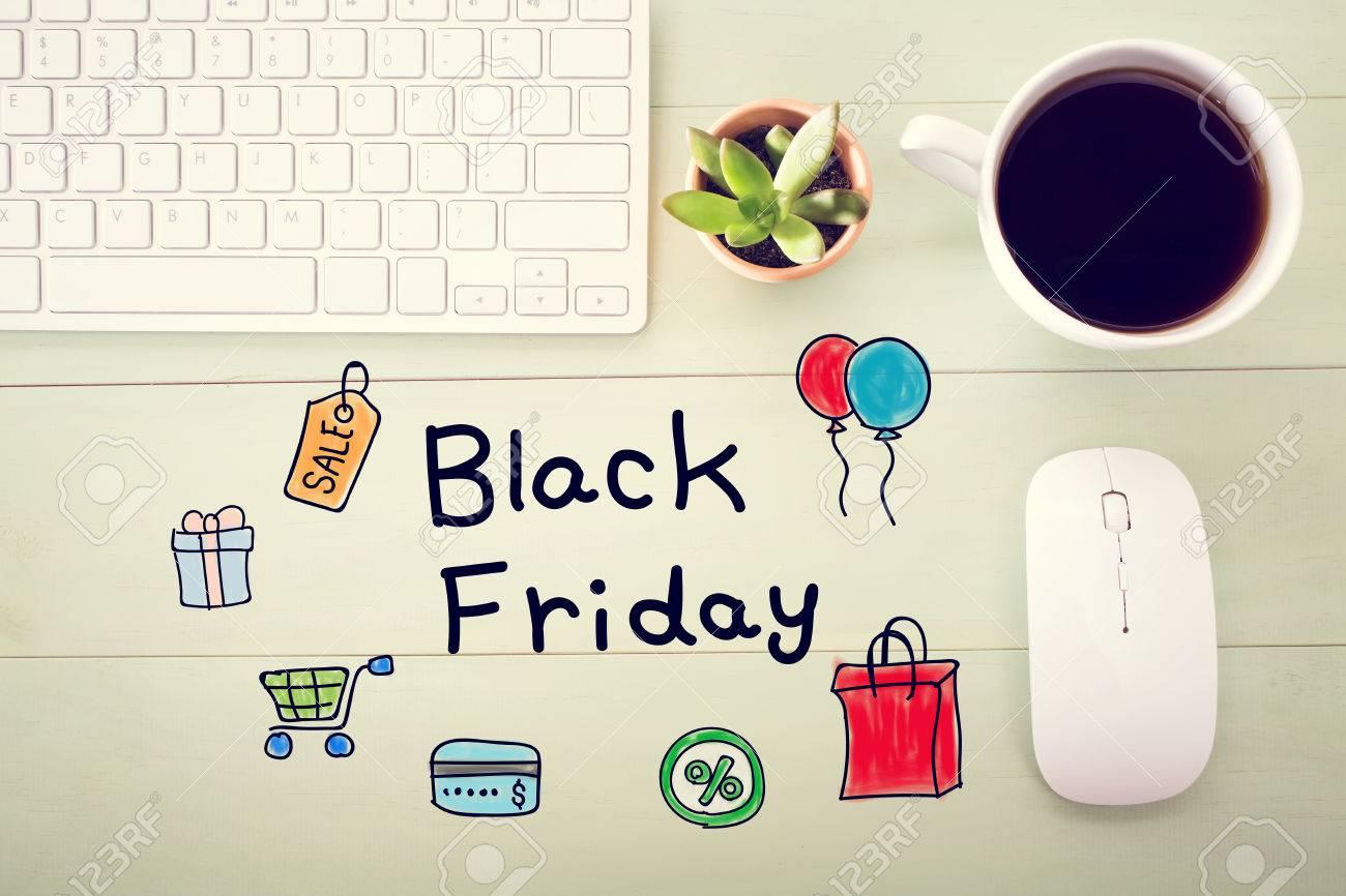 Black Friday Nachricht Mit Workstation Auf Einem Hellgrünen Holz