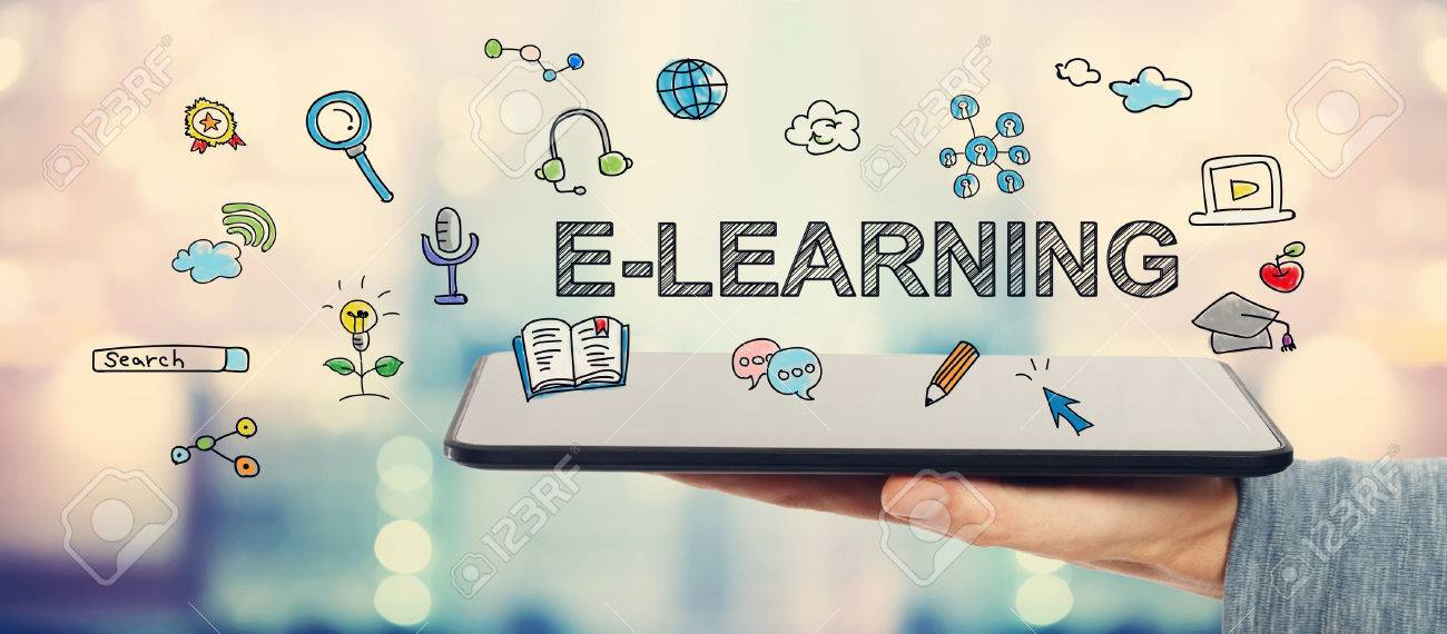 E-learning concept with man holding a tablet computer - 52412336