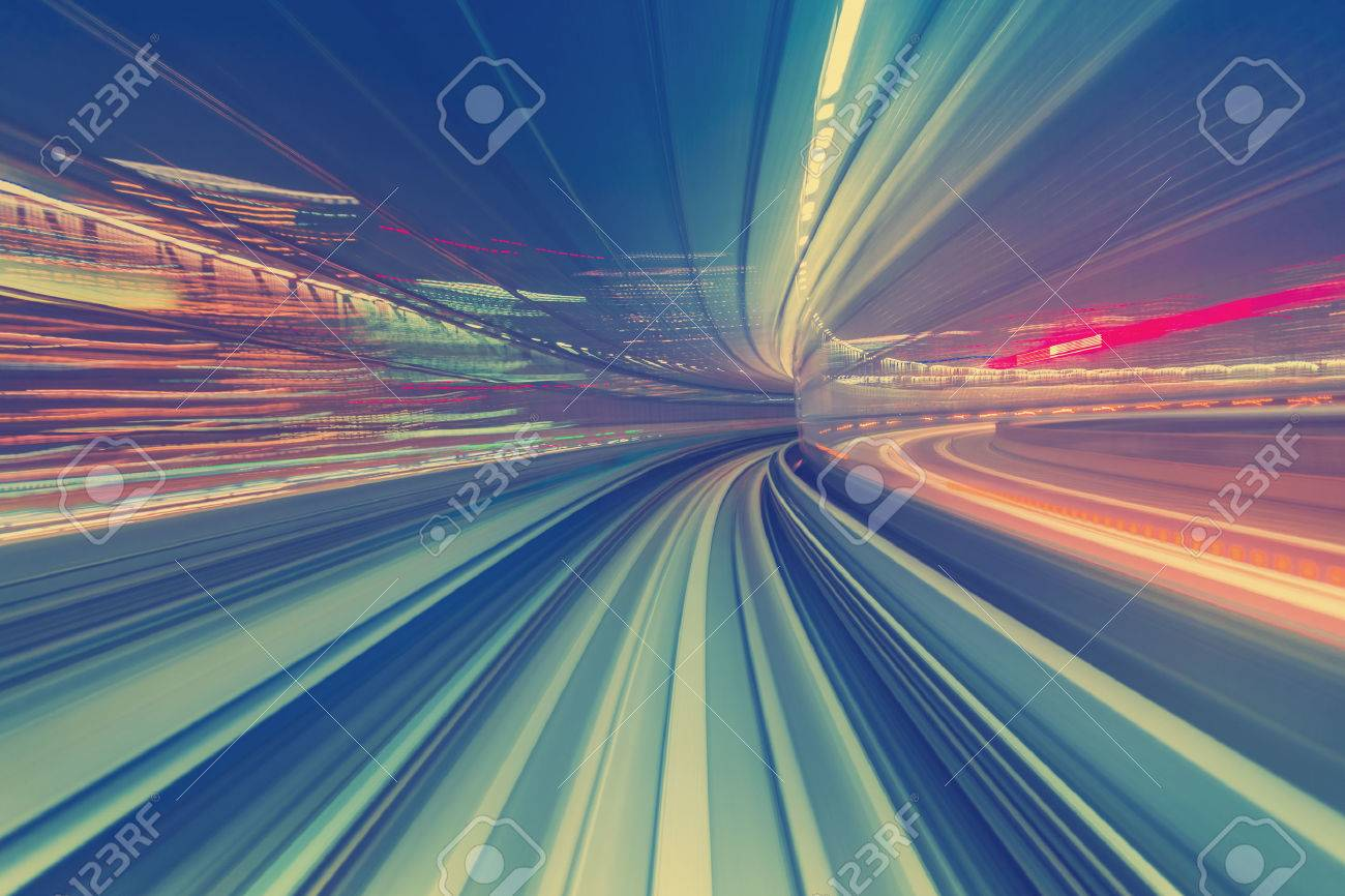 Abstract high speed technology POV motion blurred concept image from the Yuikamome monorail in Tokyo Japan - 53023245