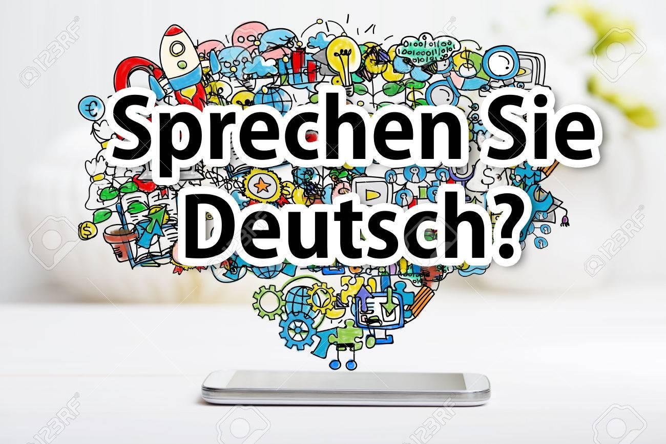 Sprechen Sie Deutsch Nachricht Mit Smartphone Auf Weißem Tisch